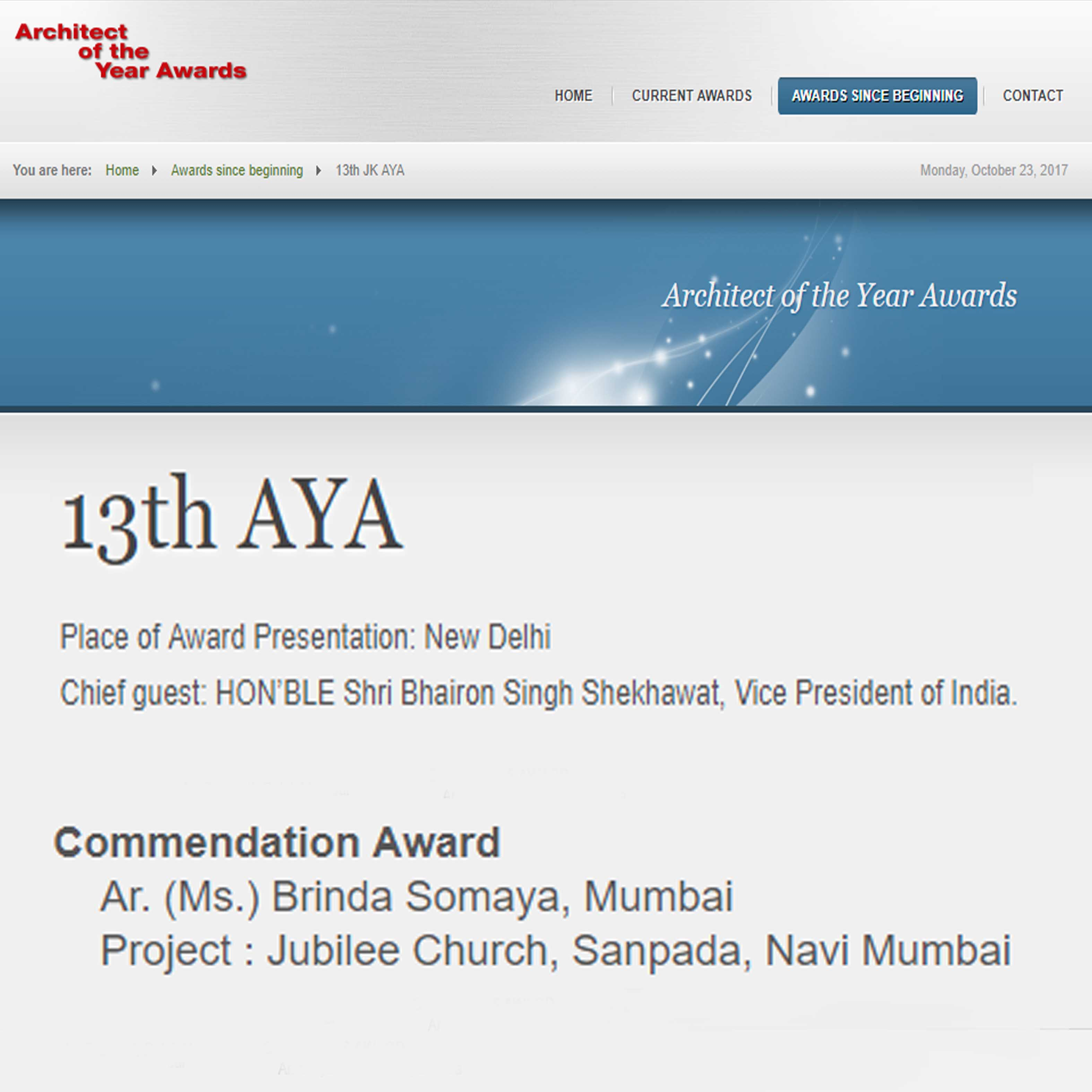 13th Architect of the Year Awards 2017 , 23 October 2017