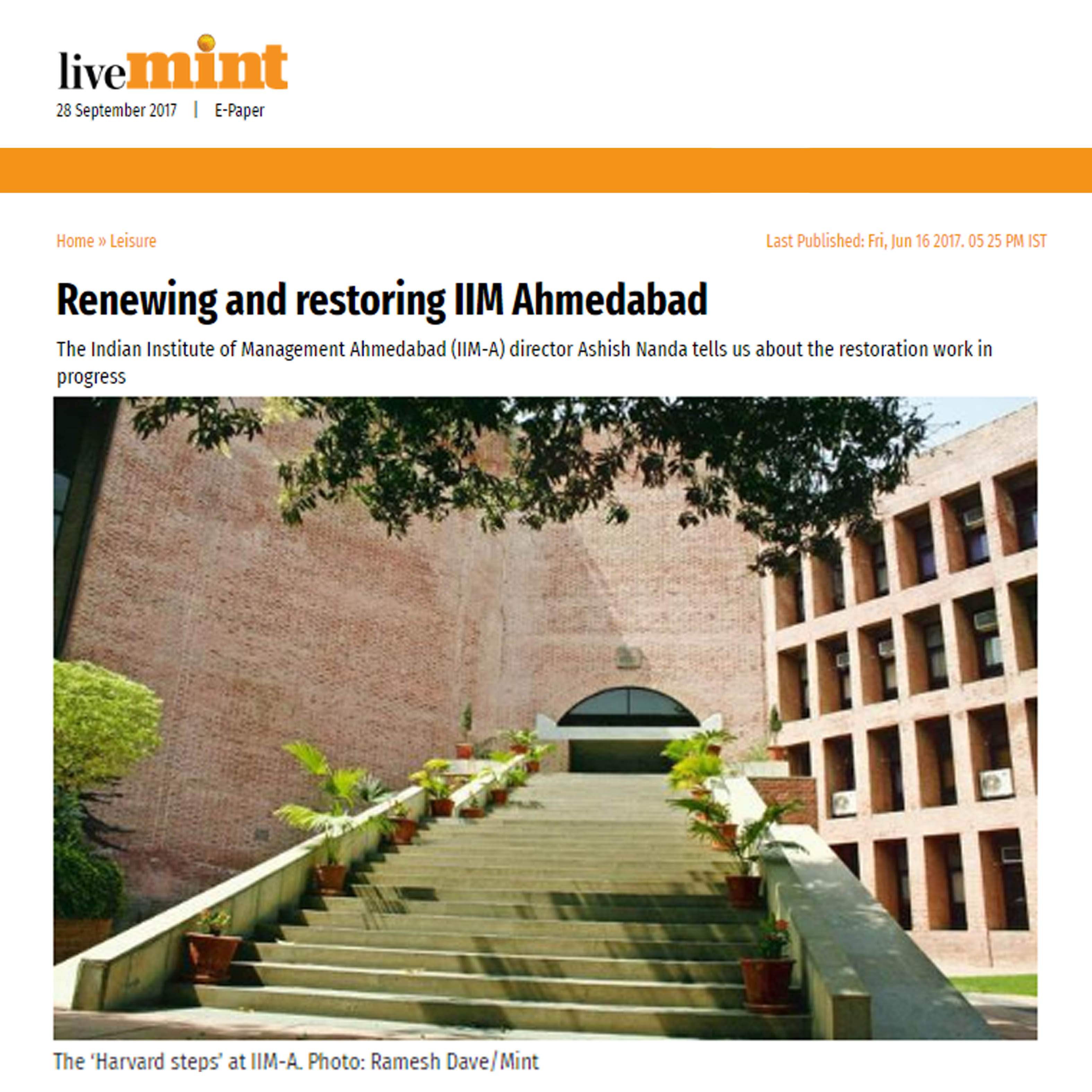 Renewing and restoring IIM Ahmedabad, LiveMint, 16th June 2017