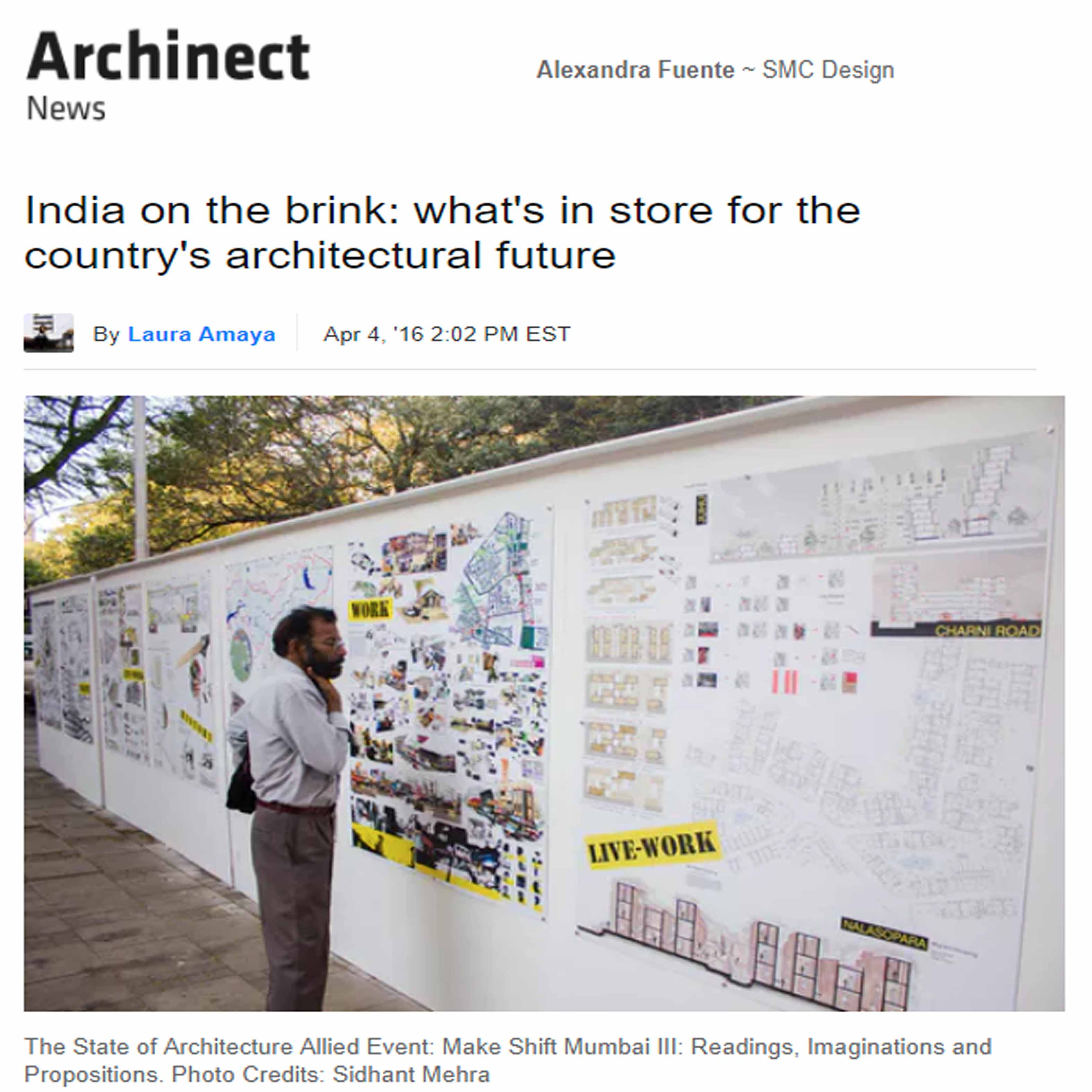 India on the Brink: What's in store for the country's architectural future, Archinect News, 4th April 2016