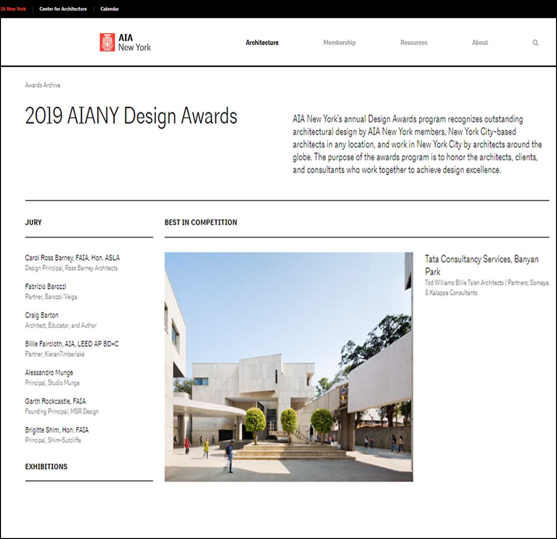 Tata Consultancy Services, Banyan Park, AIANY Design Awards - January 2019