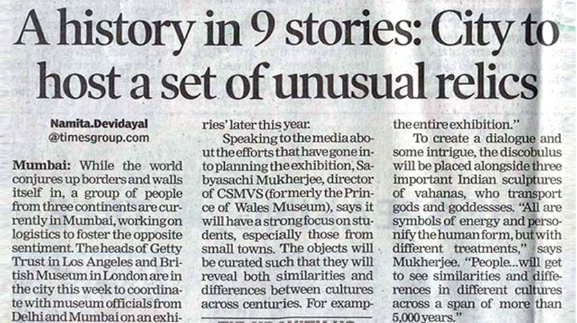 The Times of India, Mumbai - A history in 9 stories: City to host a set of unusual relics - 4th February 2017 . Exhibition Designers - Somaya and Kalappa Consultants.