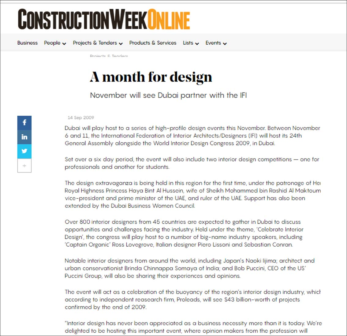A Month for design,Construction Week Online - September 2009