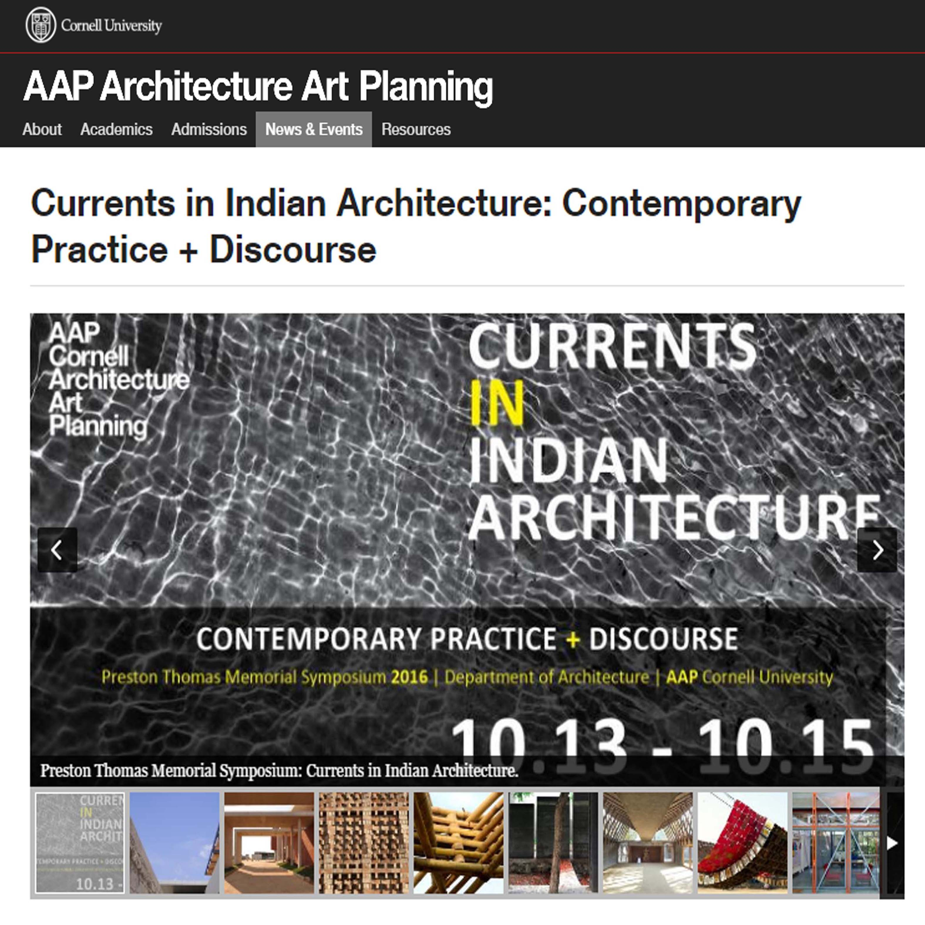 Currents in Indian Architecture: Contemporary Practice + Discourse, AAP, Cornell University, October 2016