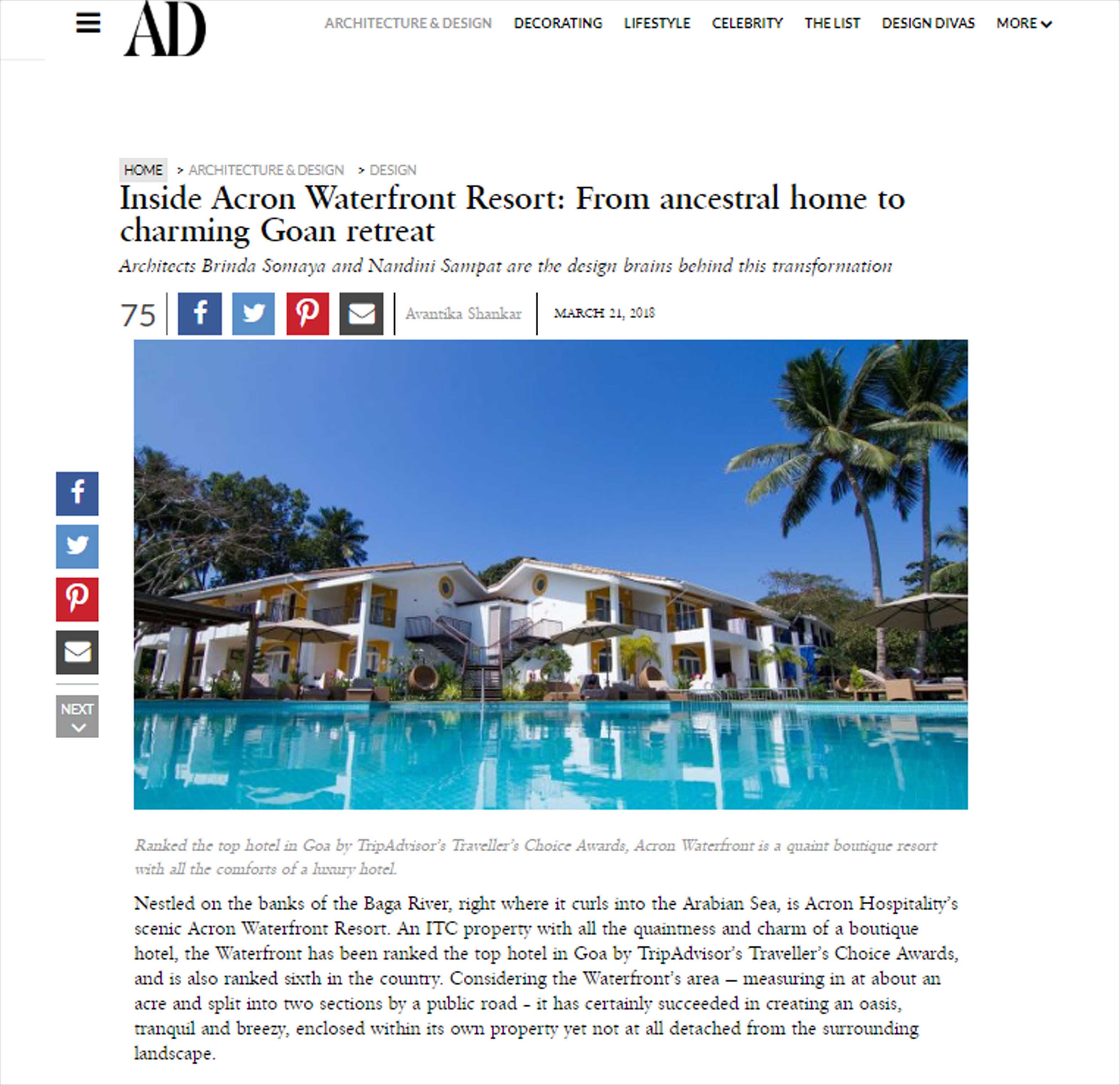Inside Acron Waterfront Resort: From ancestral home to charming Goan retreat, Architectural Digest - March 2018