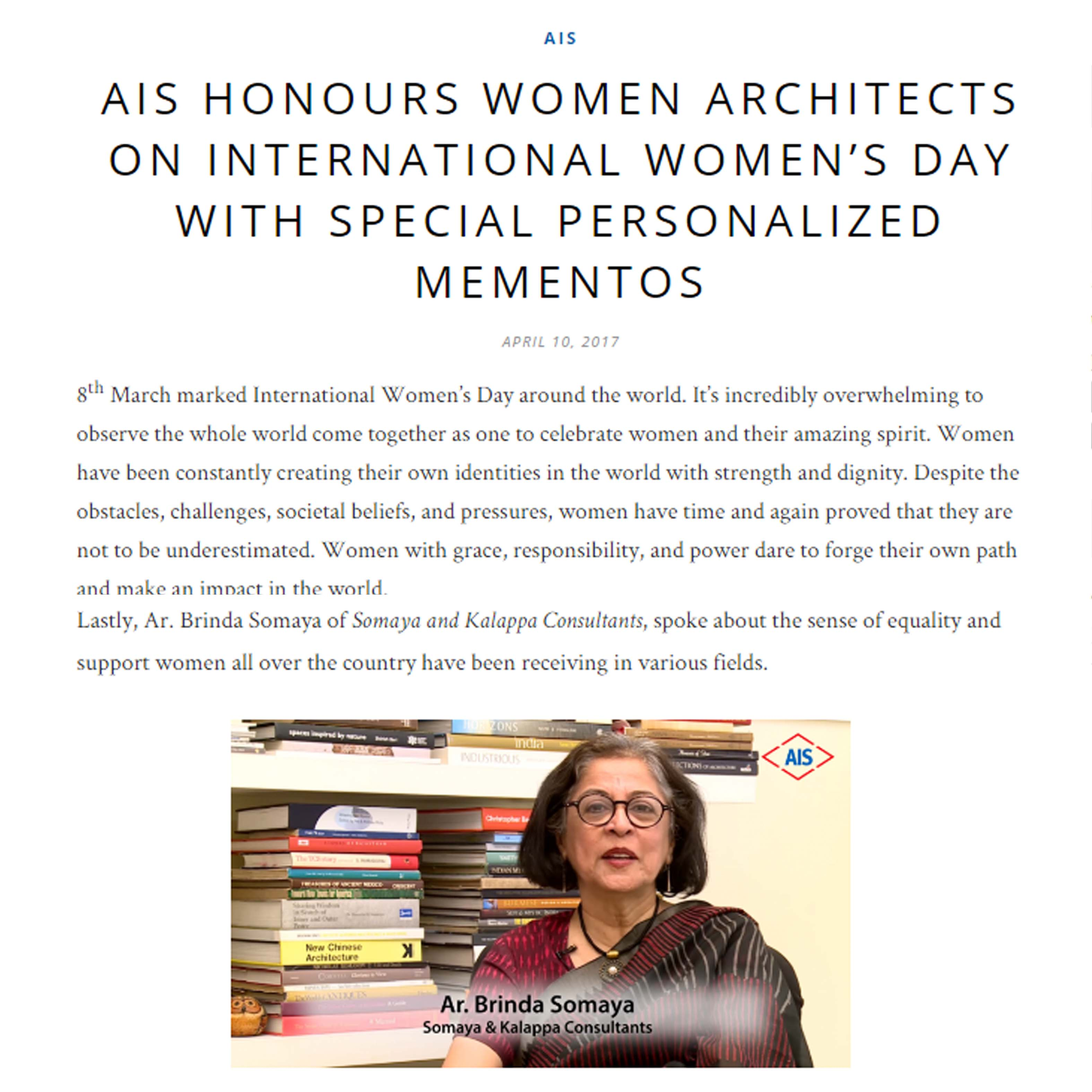 AIS Glass - AIS Honours Women Architects on International Women's Day with Special Personalized Mementos, 10th April 2017