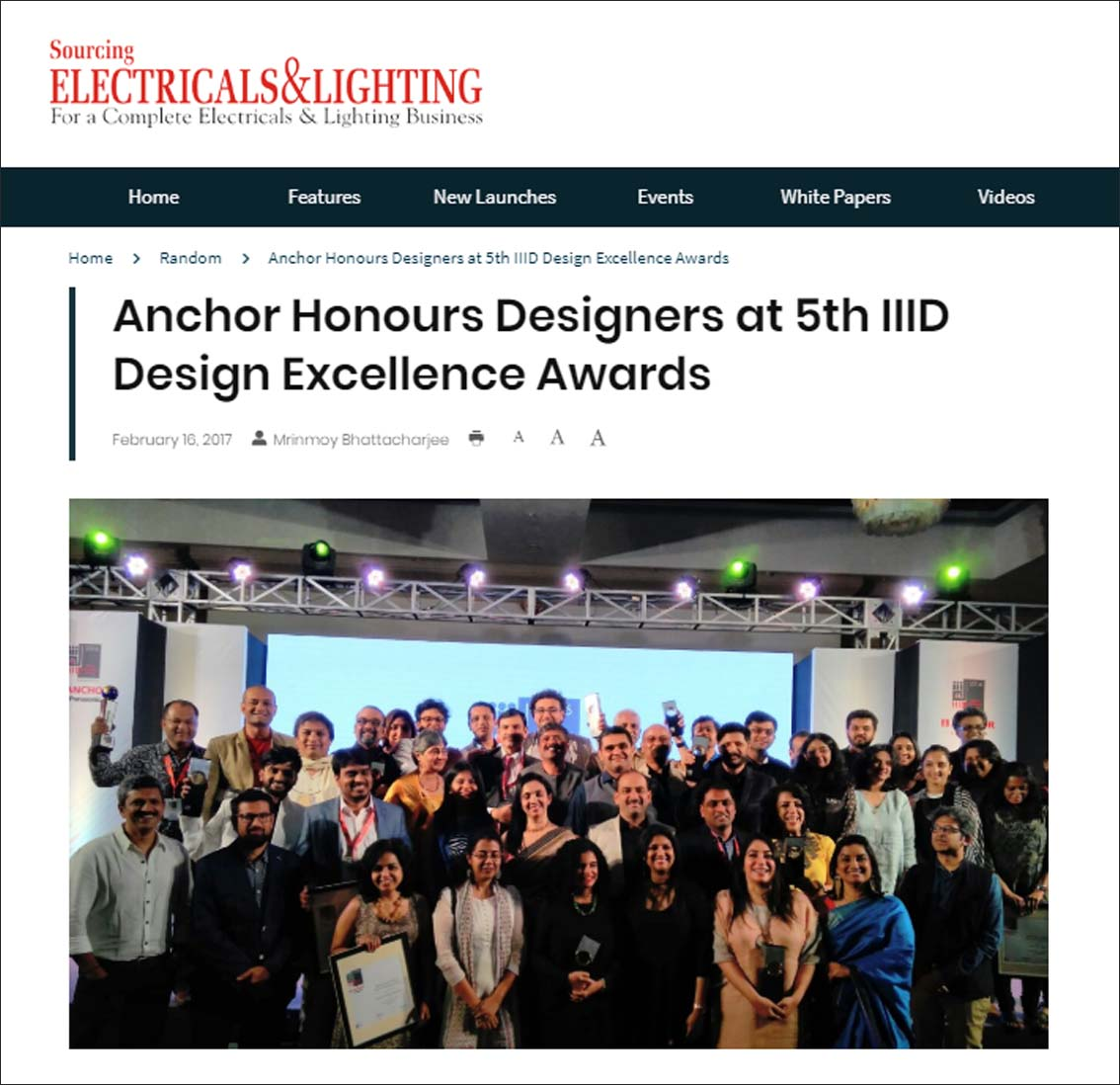 Anchor Honours Designers at 5th IIID Design Excellence Awards, Sourcing Electricals and Lighting - February 2017