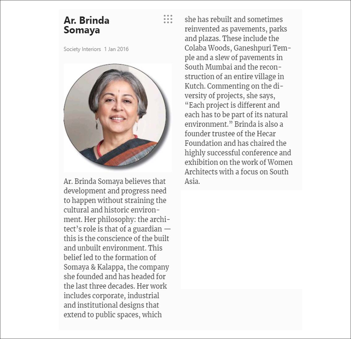 Ar. Brinda Somaya, Society Interiors - January 2016