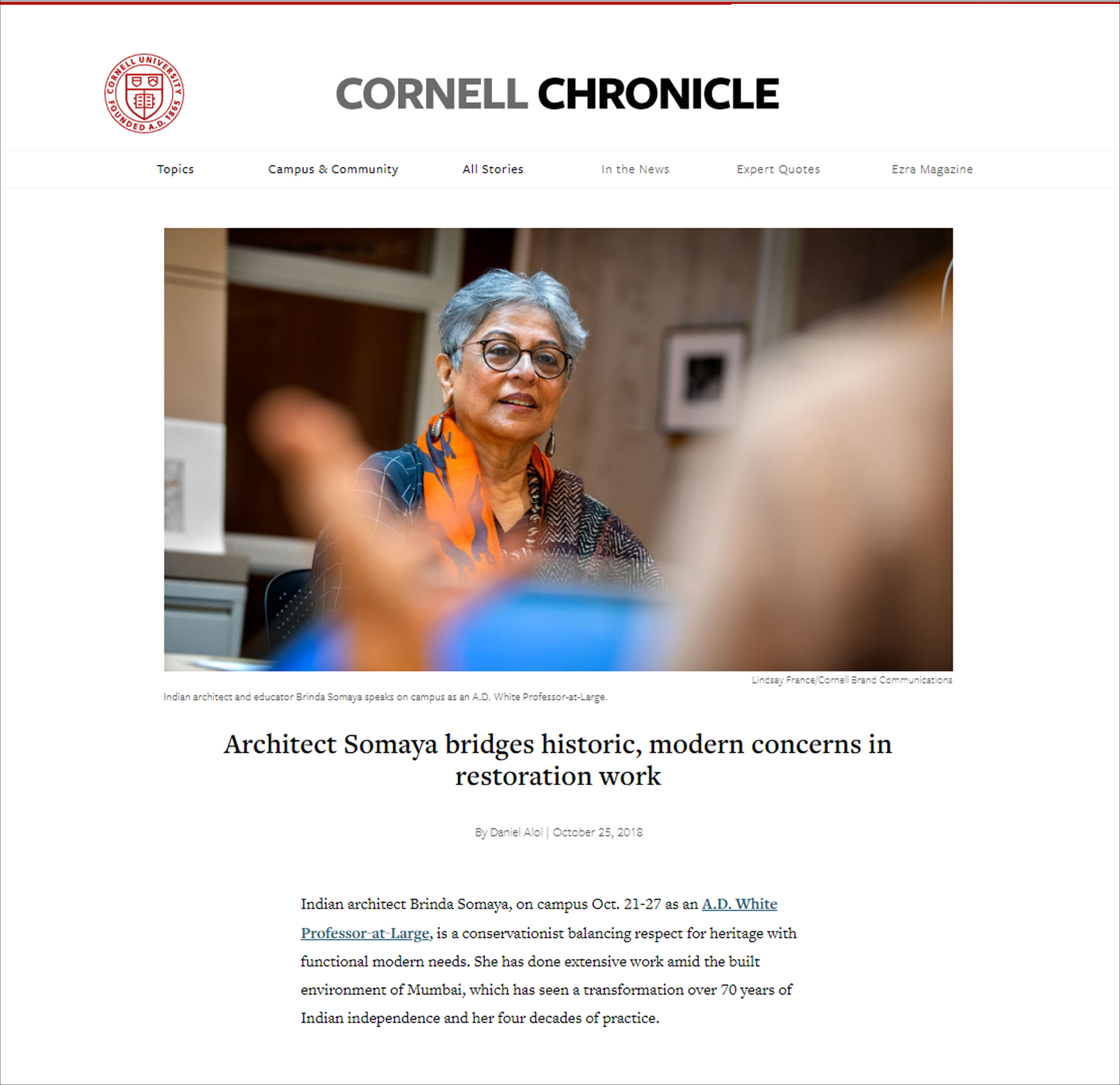 Architect Somaya Bridges historic, modern concerns in restoration work, Cornell Chronicle, on 25 October 2018