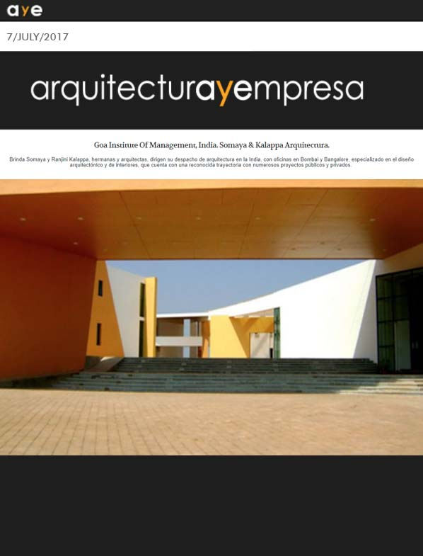 Goa Institute of Management, India. Somaya And Kalappa Arquitectura, Arquitectura y empresa - July 2017