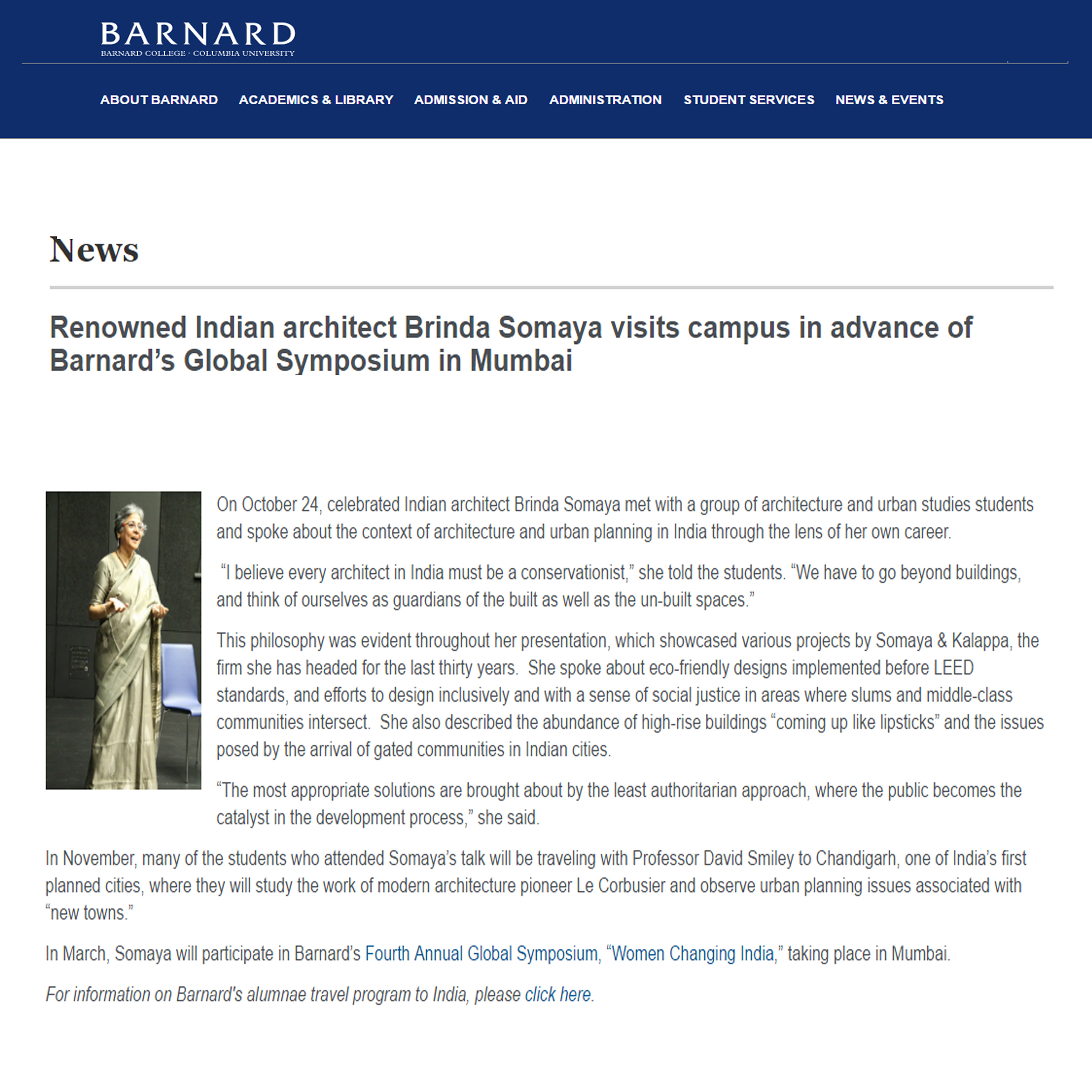 Renowned Indian architect Brinda Somaya visits campus in advance of Barnard�s Global Symposium in Mumbai, Barnard, 27th October 2011
