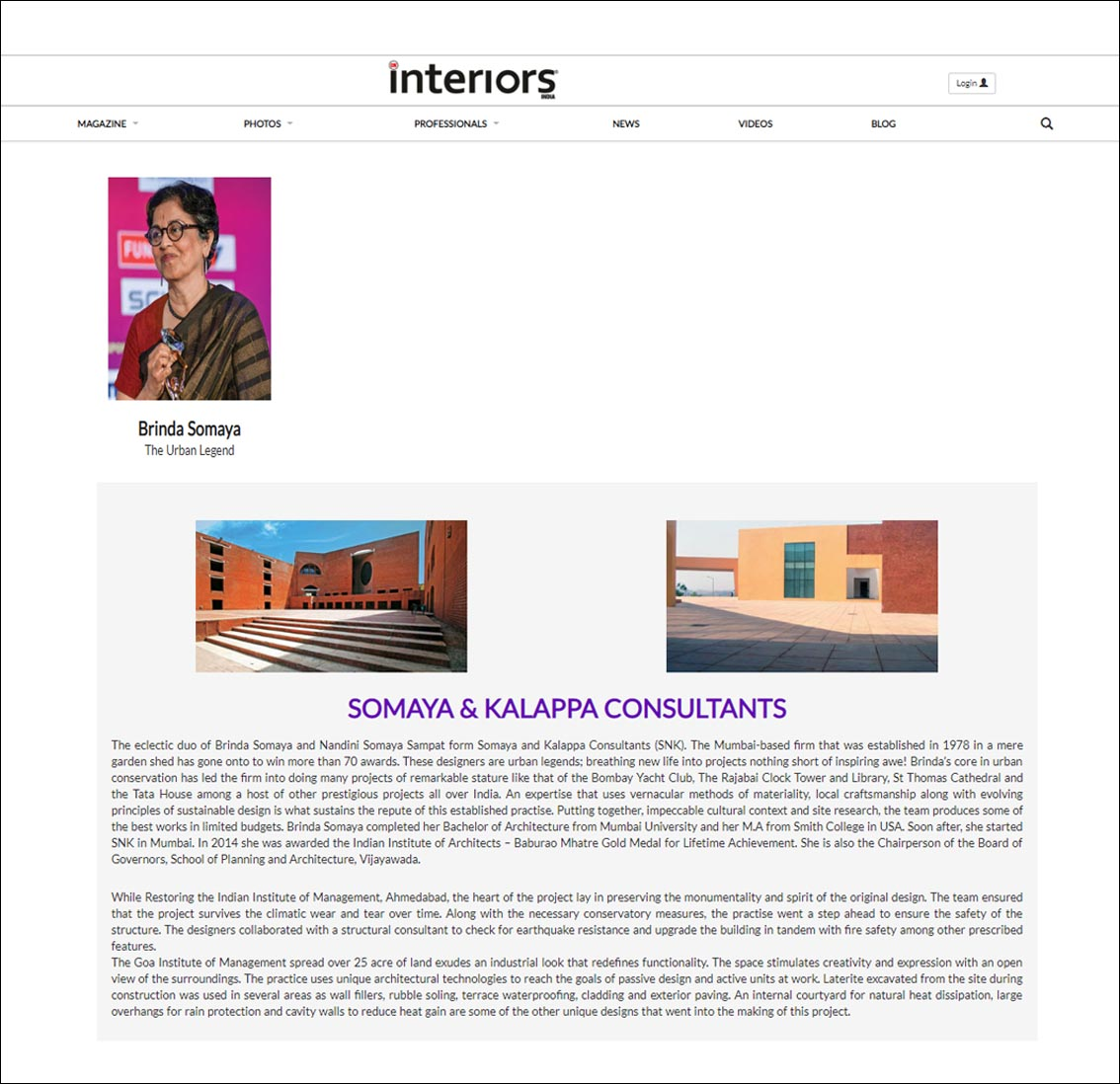 Brinda Somaya , The Urban Legend , CW Interiors - September 2017