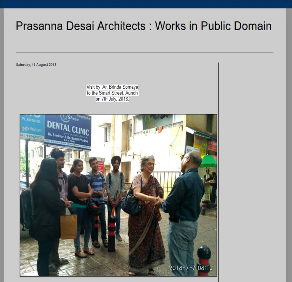 Brinda somaya Prasanna Desai Architects : Works in Public Domain - July 2018