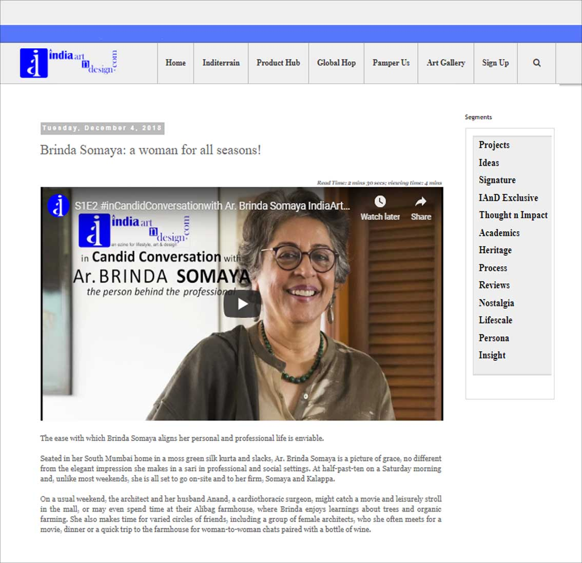 Brinda Somaya: a woman for all seasons! , India art n design - December 2018