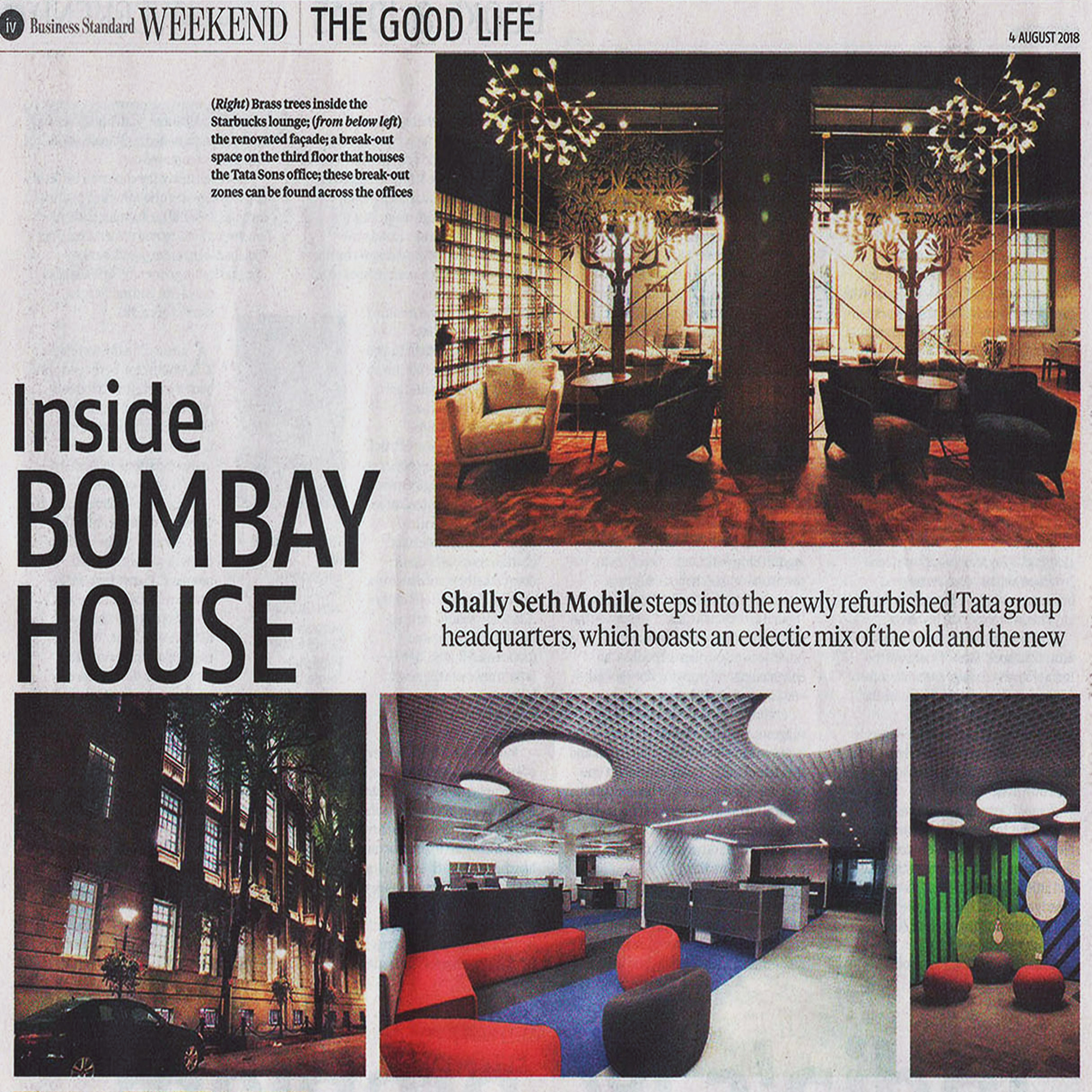 Inside Bombay House ,Business Standard - August 2018