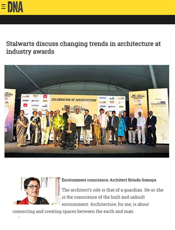 Outstanding Achievement Contribution in the field of Achievements,DNA Sir JJ Architecture Awards 2018- January 2018.