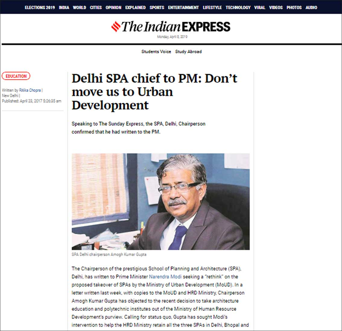 Delhi SPA chief to PM: Don't Move us to Urban Development,The Indian ExPress - April 2017�