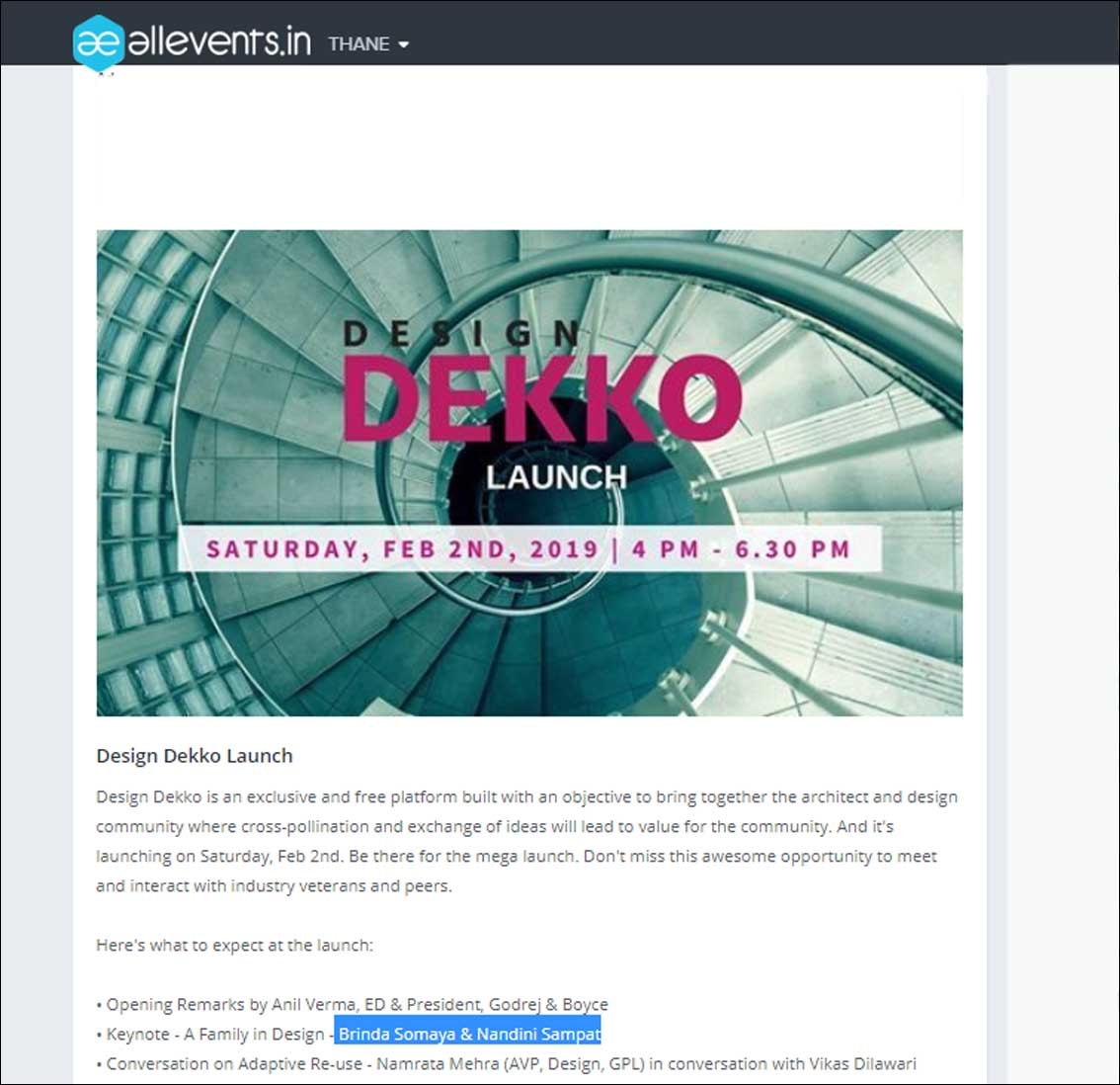 Design Dekko Launch -February 2019