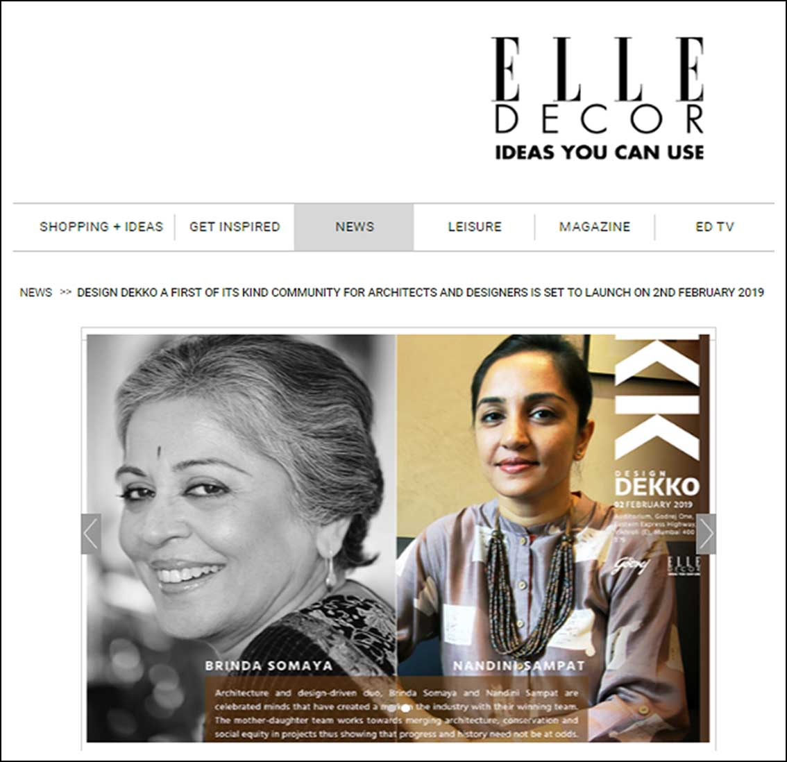 Design Dekko a first of its kind community for architects and designers is set to launch , ELLE Decor - February 2019