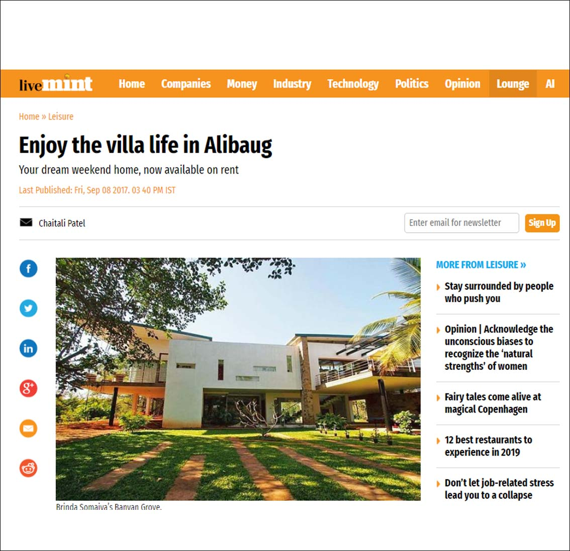Enjoy the villa life in Alibaug , live mint  - September 2017