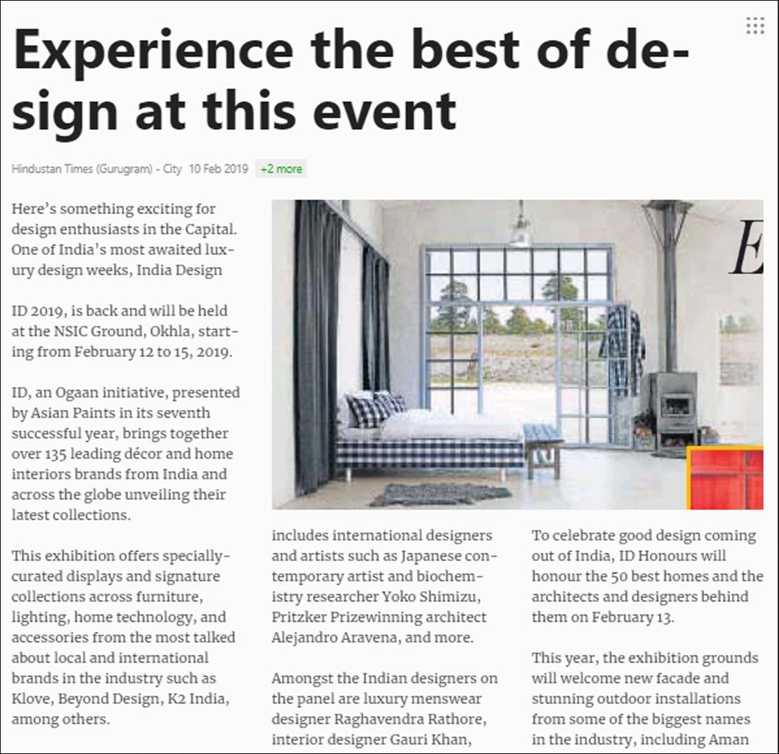 Experience the best of design at this event, Hindustan Times (Gurugram) - February 2019