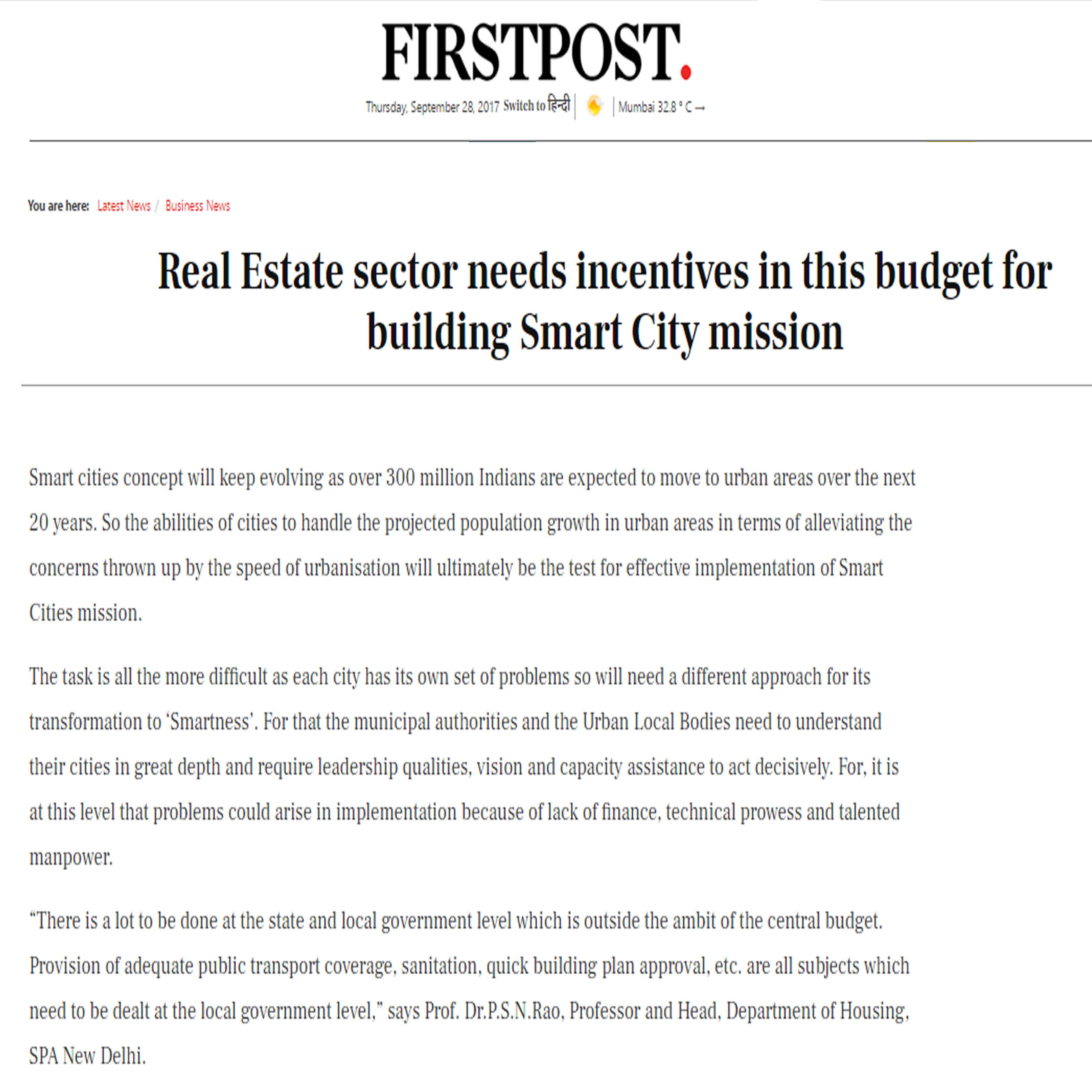 Real Estate sector needs incentives in this budget for building Smart City mission, FirstPost, 18th January 2017