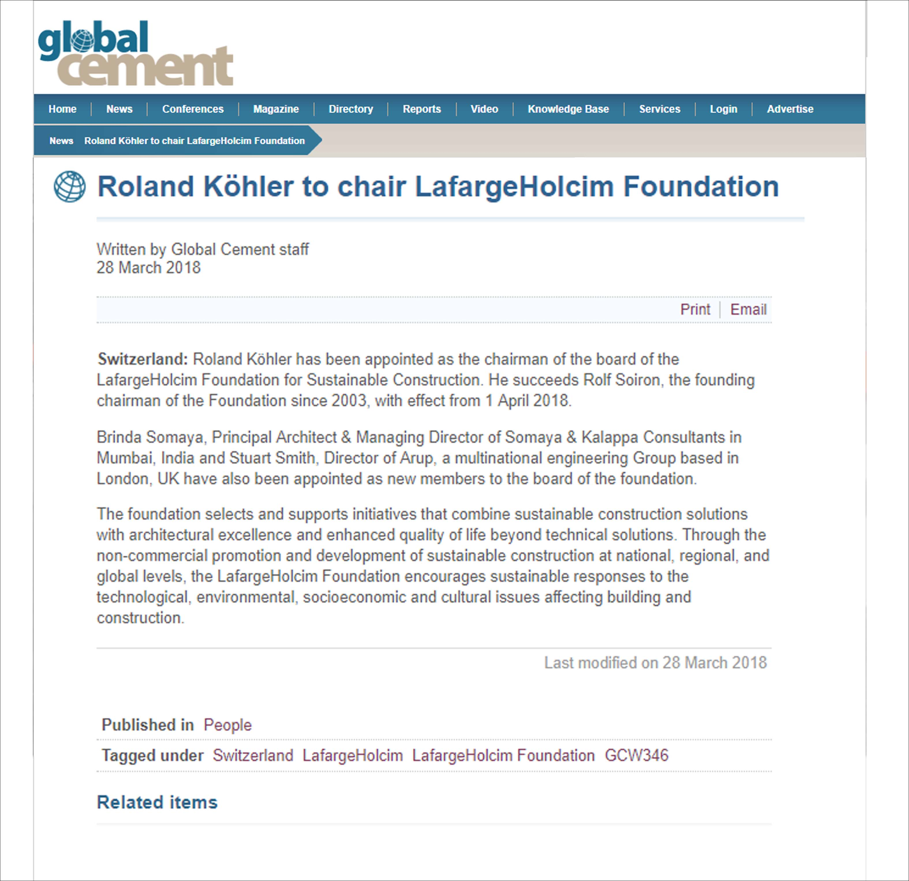 Roland Kohler to chair Lafarge Holcim Foundation, Global Cement - On 28 March 2018