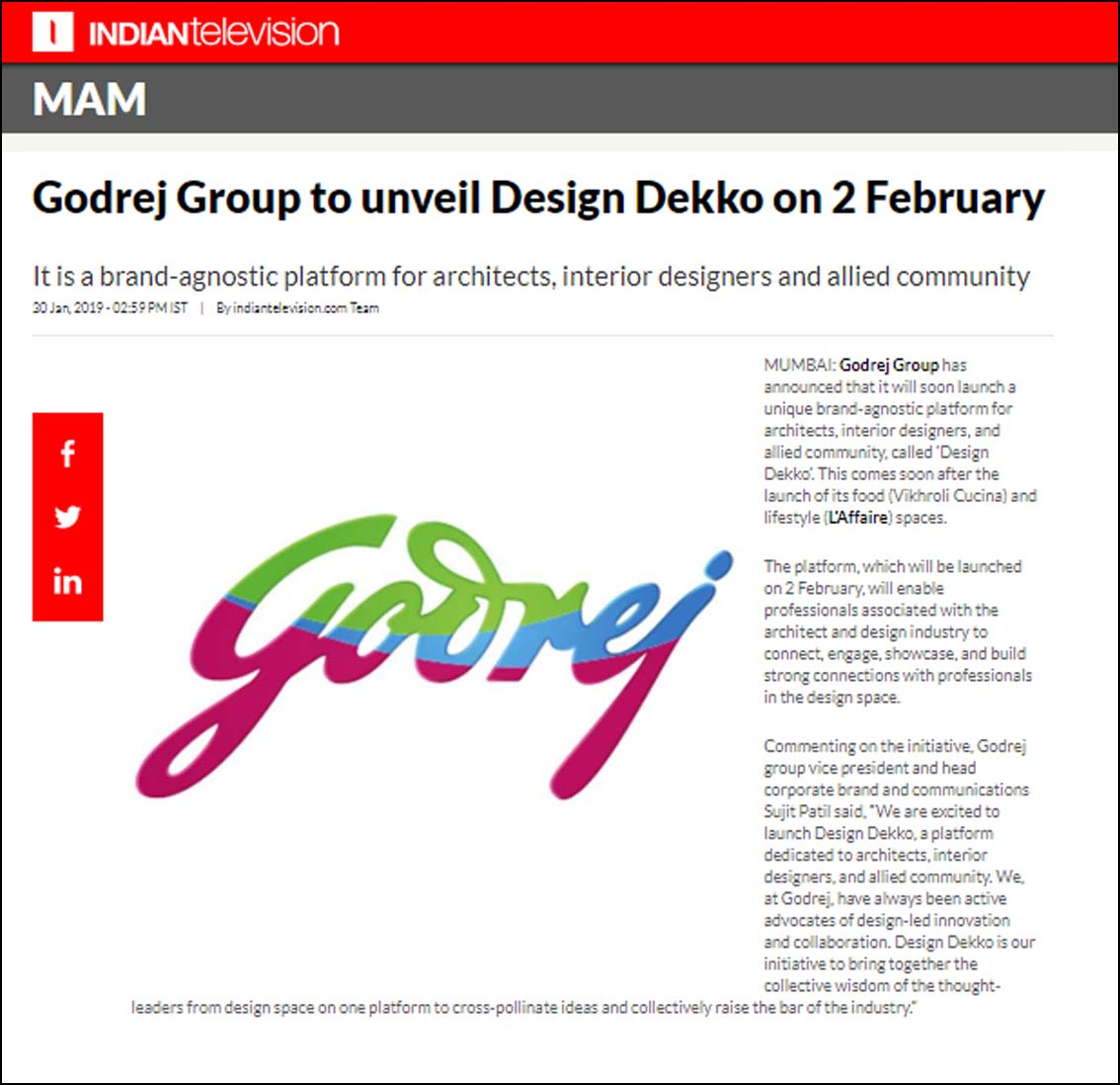 Godrej Group to Unveil Design Dekko on 2 February, Indian Television - January 2019