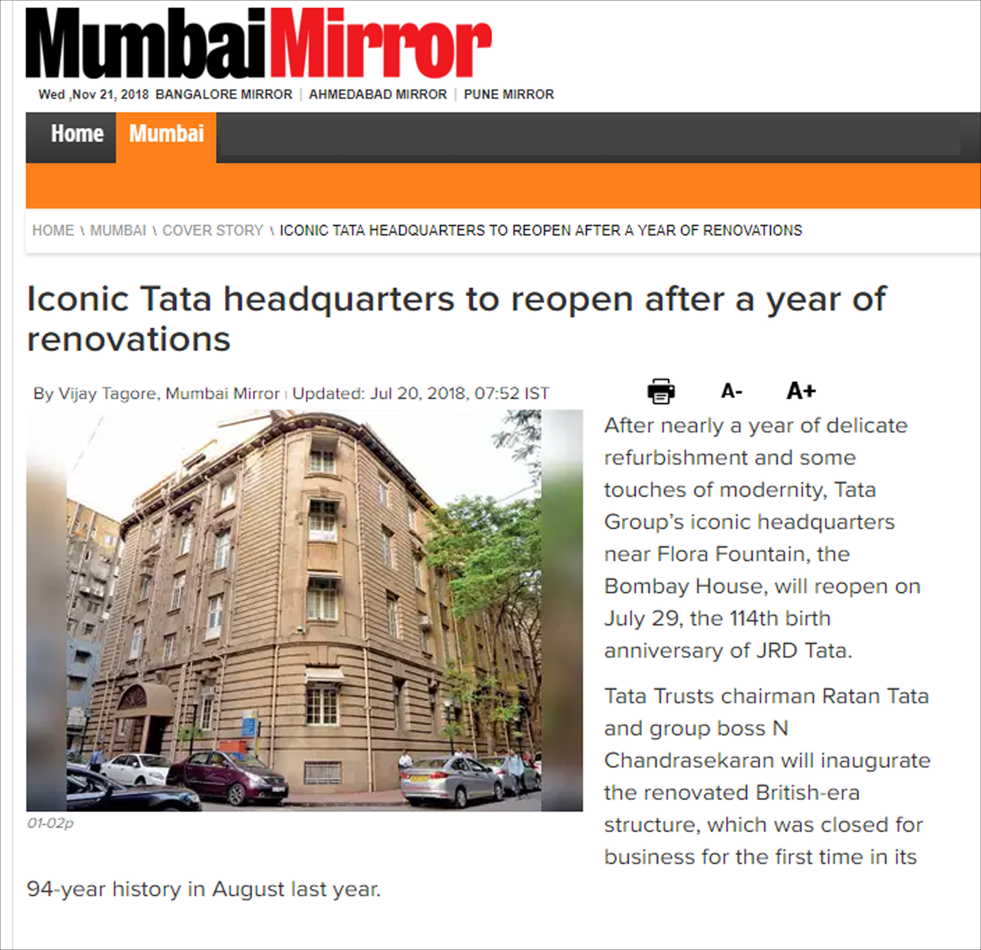 Iconic Tata headquarters to reopen after a year of renovations By Vijay Tagore, Mumbai Mirror , on 20 July, 2018
