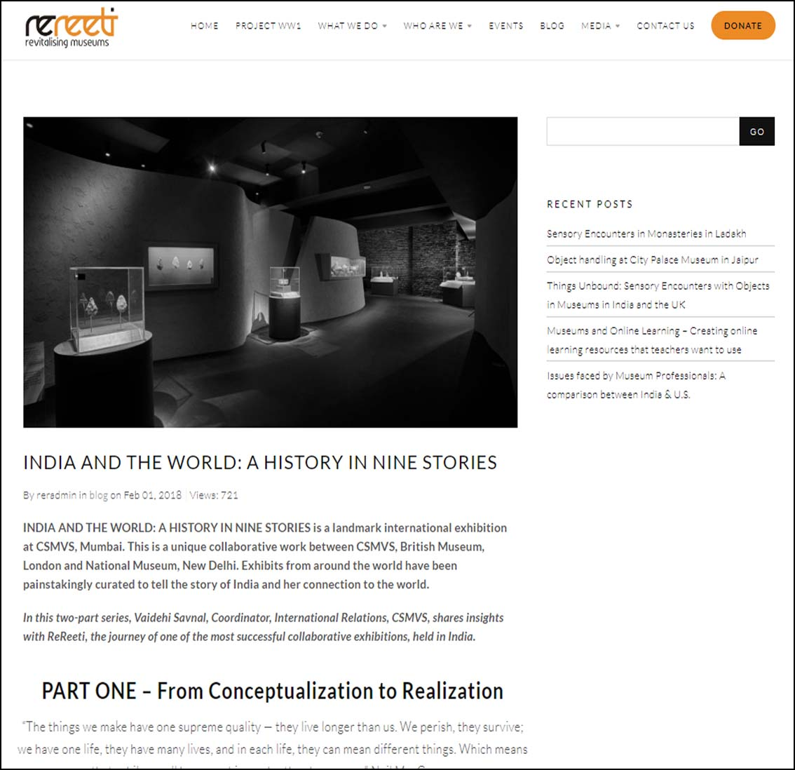 India and the World : A History in Nine Stories  , Rereeti Revitalising Museums - February 2018