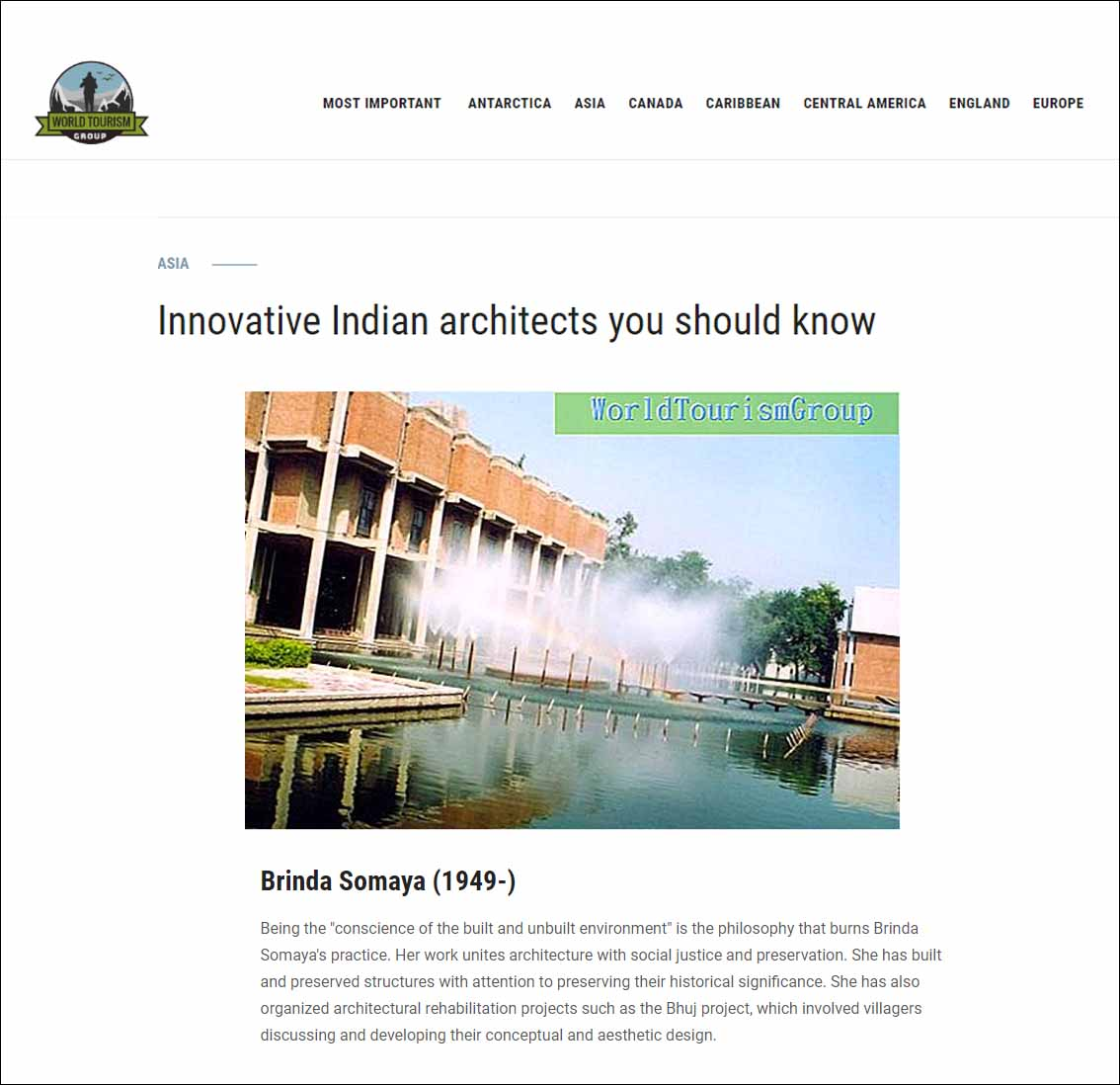 Innovative Indian Architects you should know, Asia ,World Tourism Group 2019