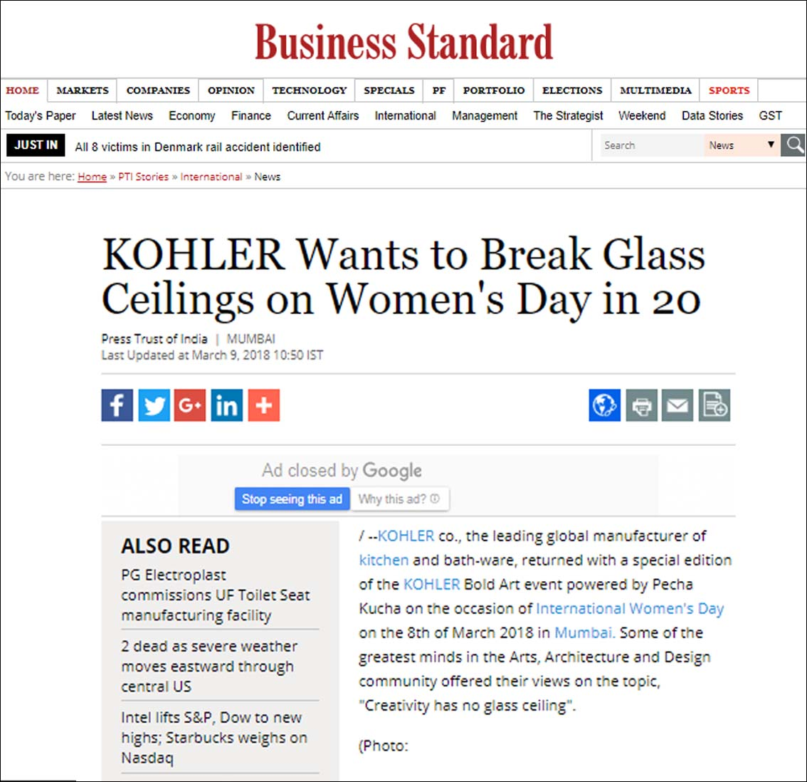 KOHLER Wants to Break Glass Ceilings on Women's Day in 20, Business Standard - March 2018