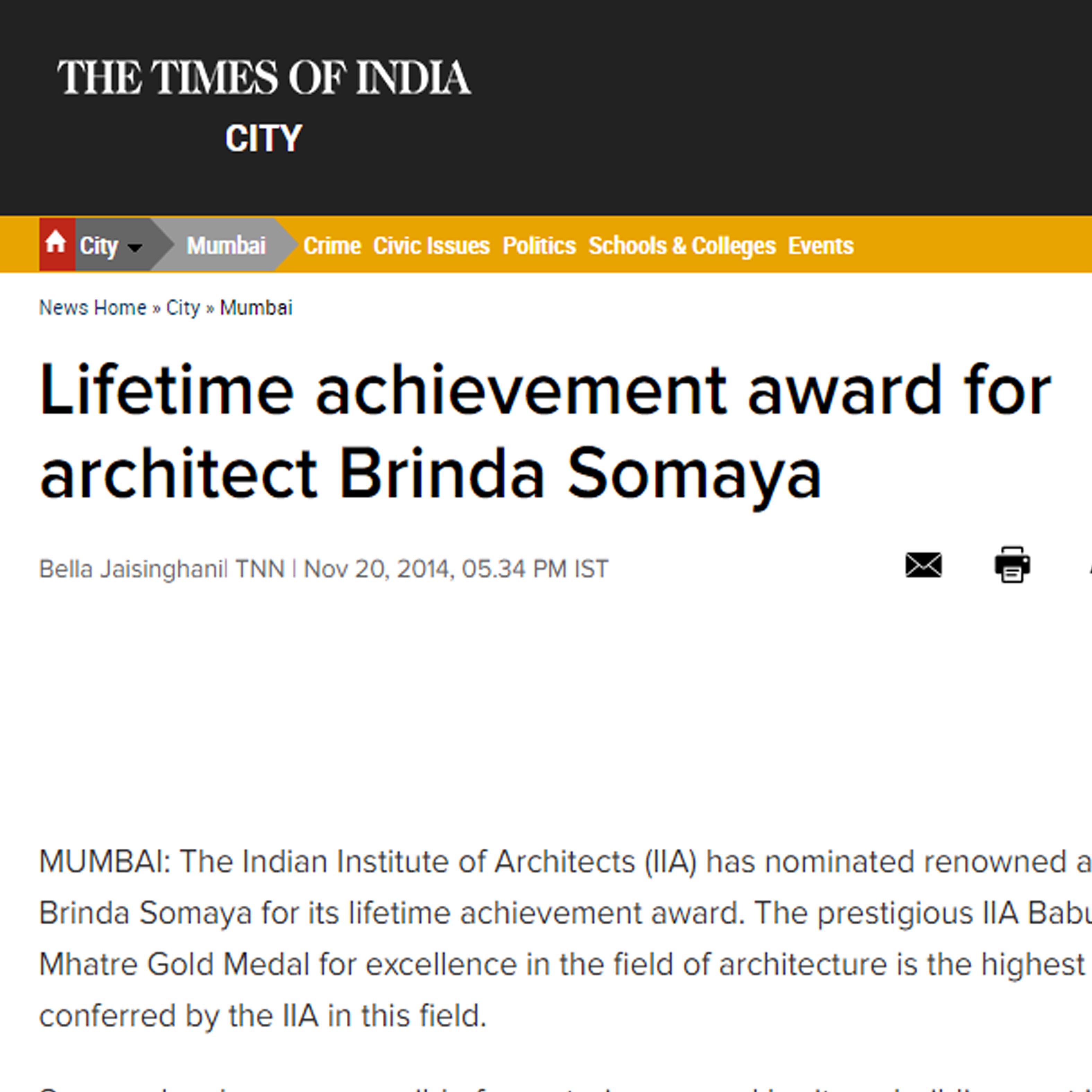 Lifetime-achievement-award-for-architect-Brinda-Somaya