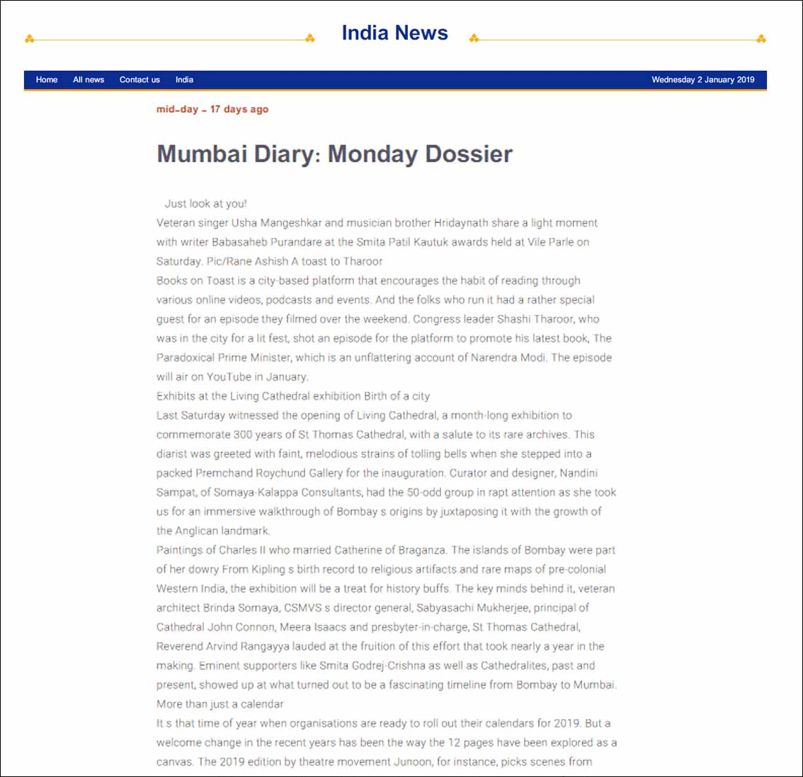 Mumbai Diary: Monday Dossier, India News - January 2019