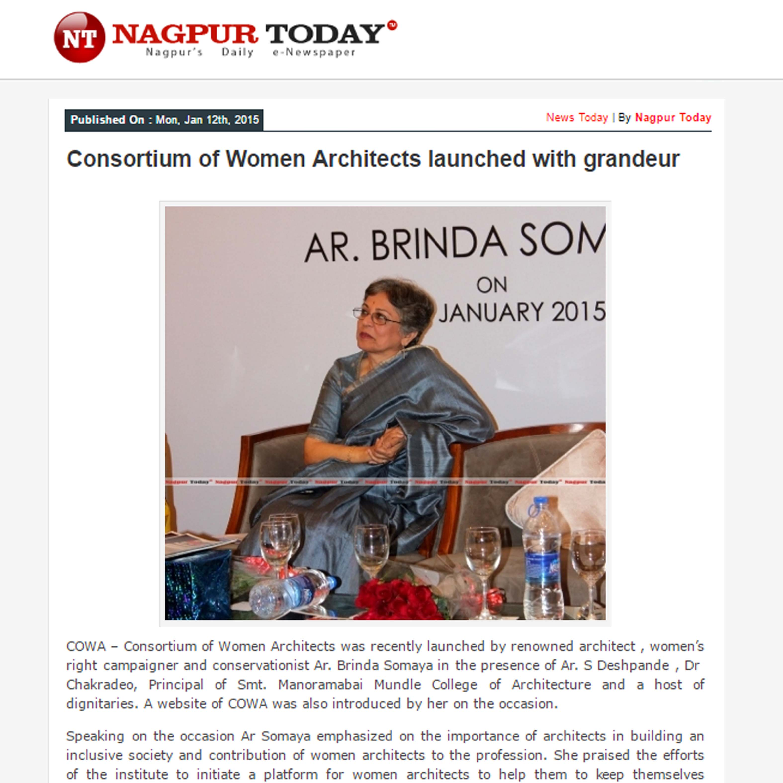 Consortium of Women Architects launched with grandeur, Nagpur Today, 12th January 2015