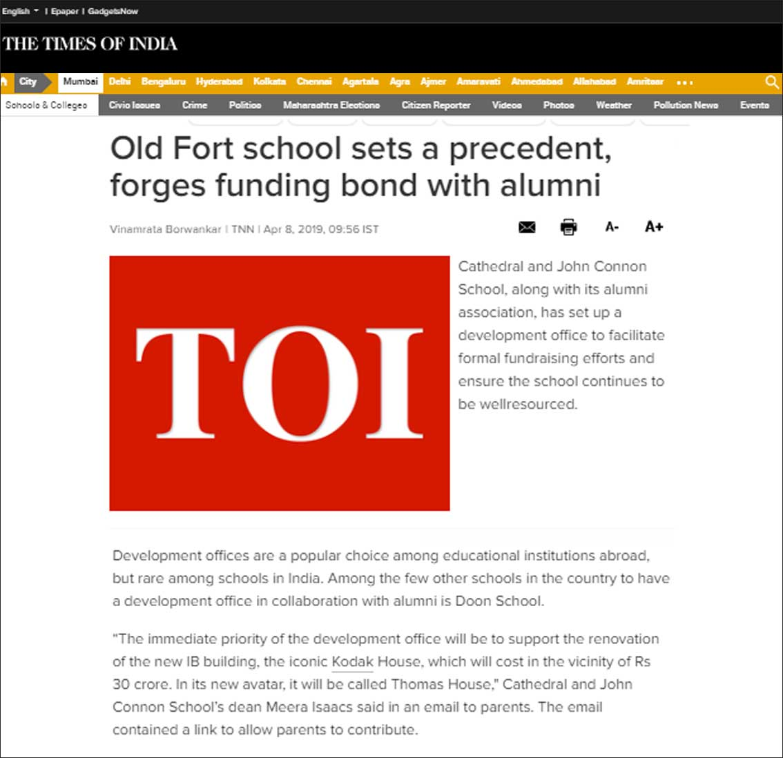 Old fort school sets a precedent, forges funding bond with alumni, The Times of India - April 2019
