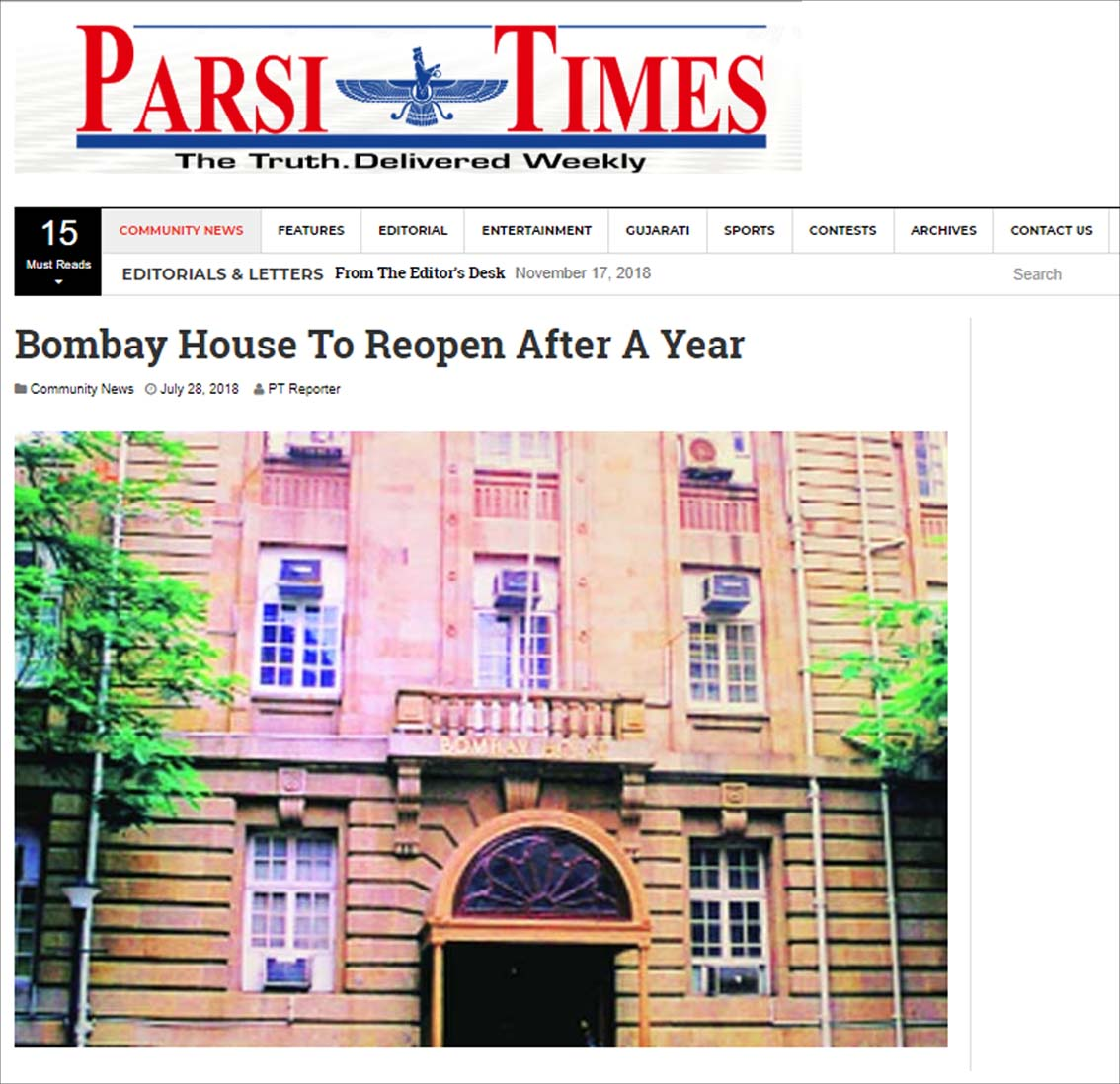 Bombay House To Reopen After A Year , Parsi Times - July 2018