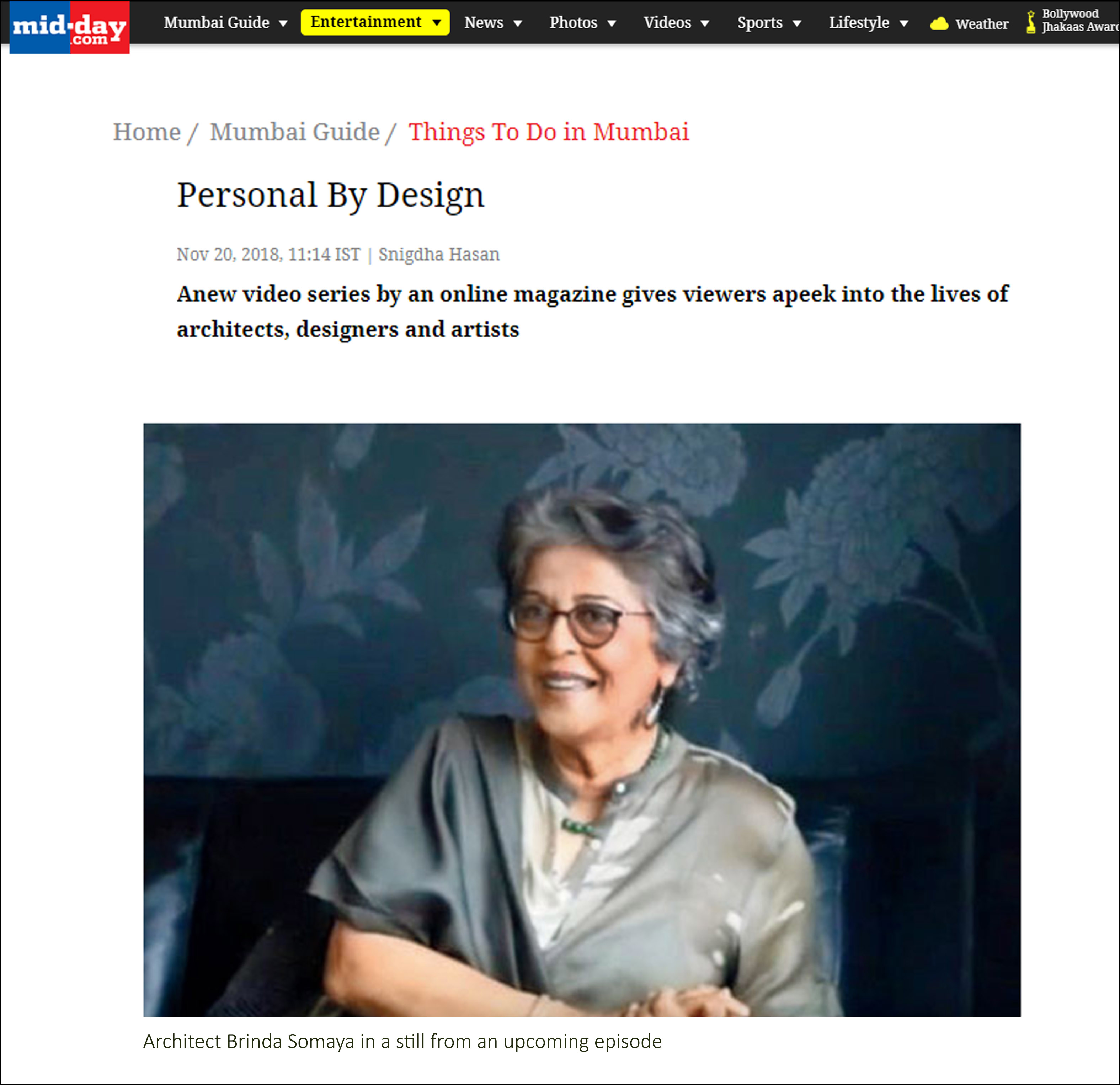 Personal By Design, Mid - Day - On 20 November 2018