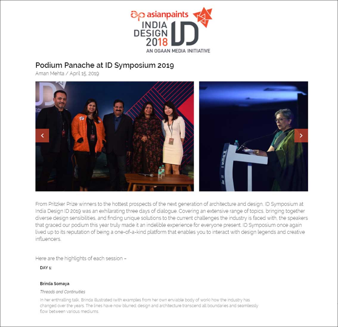 Podium Panache at ID Symposium 2018, India Design ID 2018 - April 2019