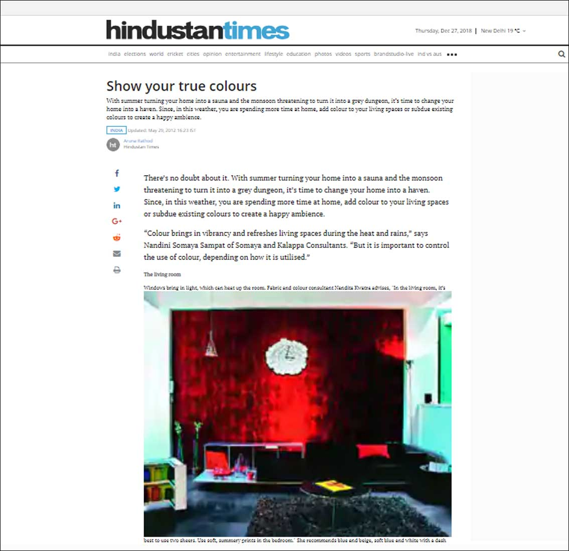 Show your true colours, Hindustan Times - May 2012