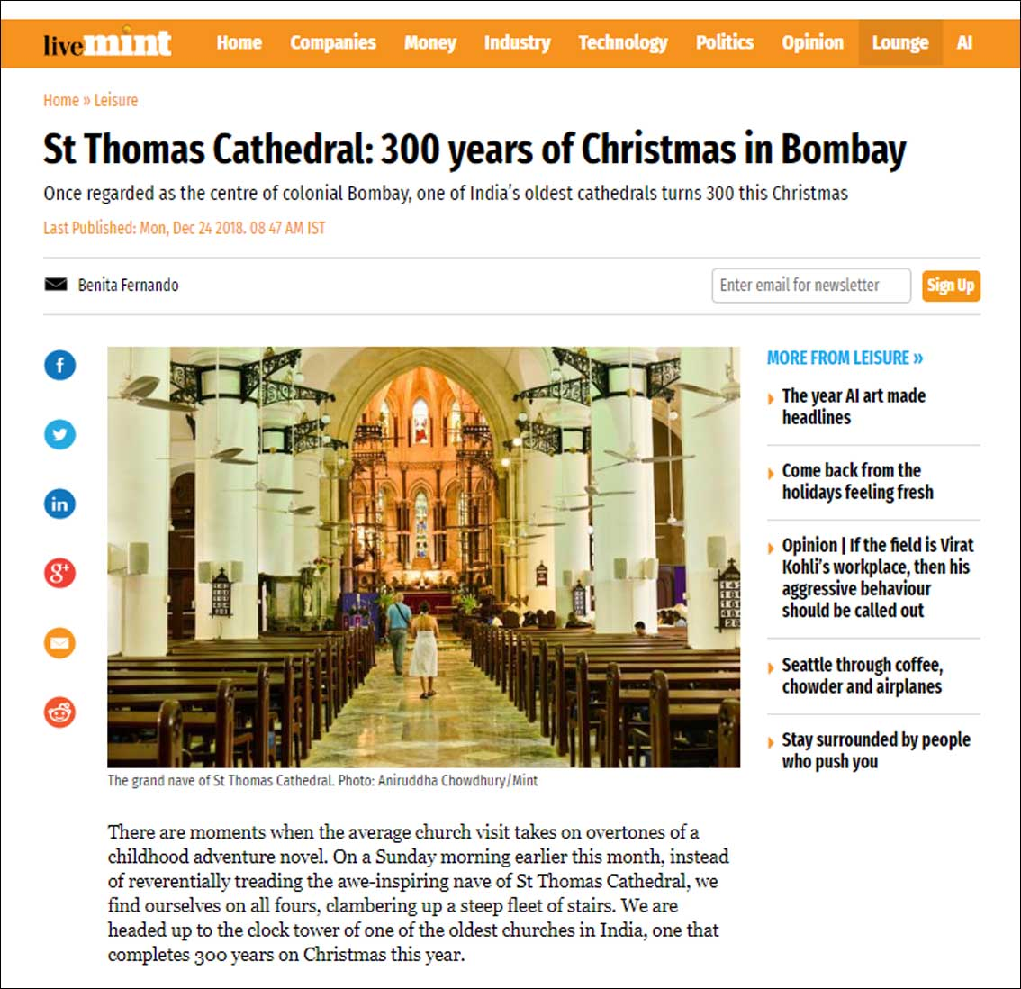 St Thomas Cathedral: 300 years of Christmas in Bombay ,Live Mint - December 2018