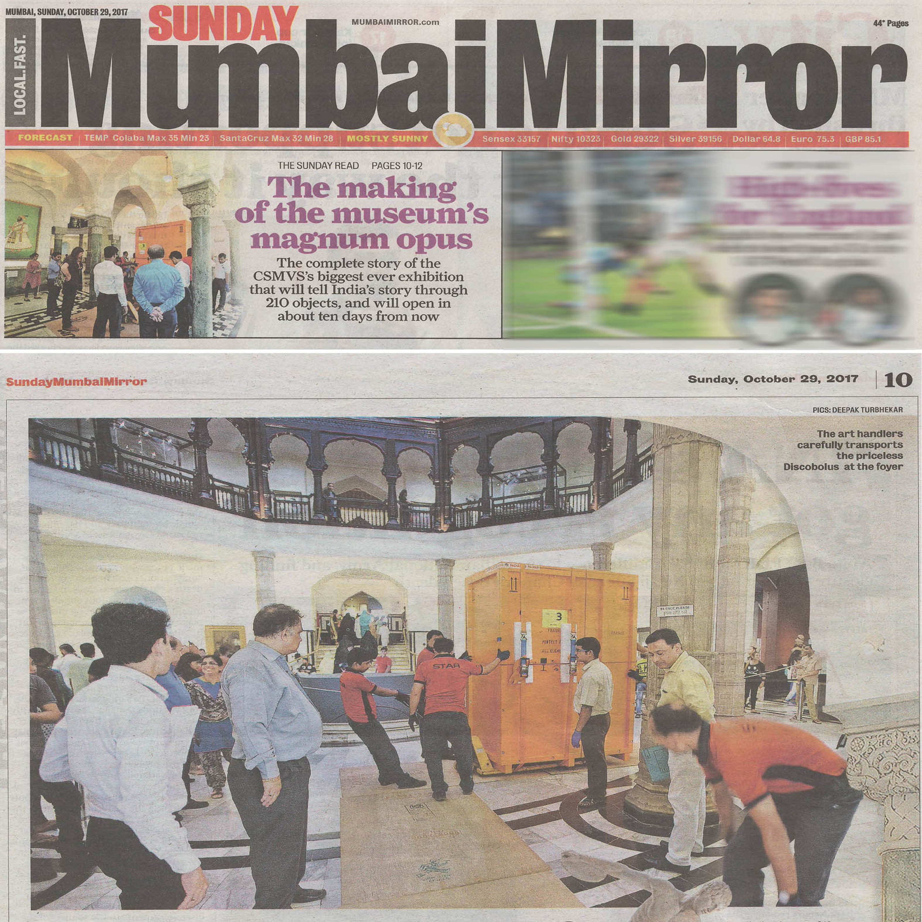 Sunday Mumbai Mirror - The Making of the Museum's magnum opus ,29th October 2017