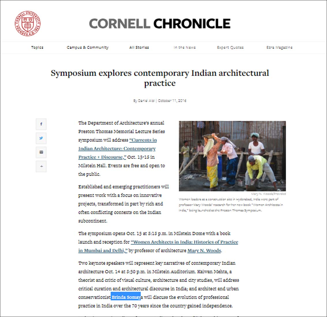 Symposium explores contemporary Indian Architectural practice, Cornell chronicle -October 2016