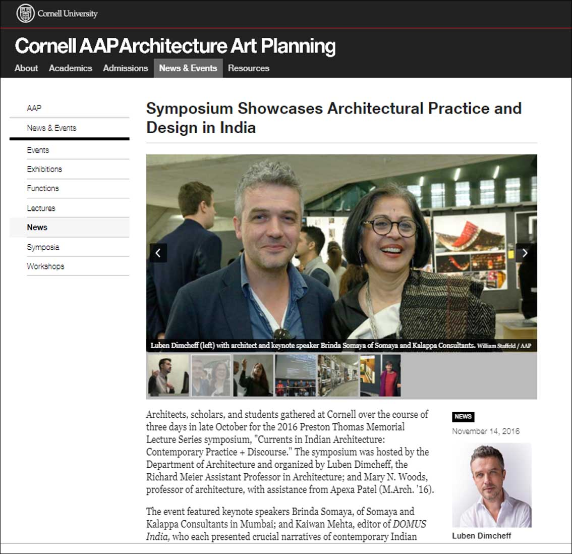 Symposium Showcases Architectural Practice and Design in India - November 2016