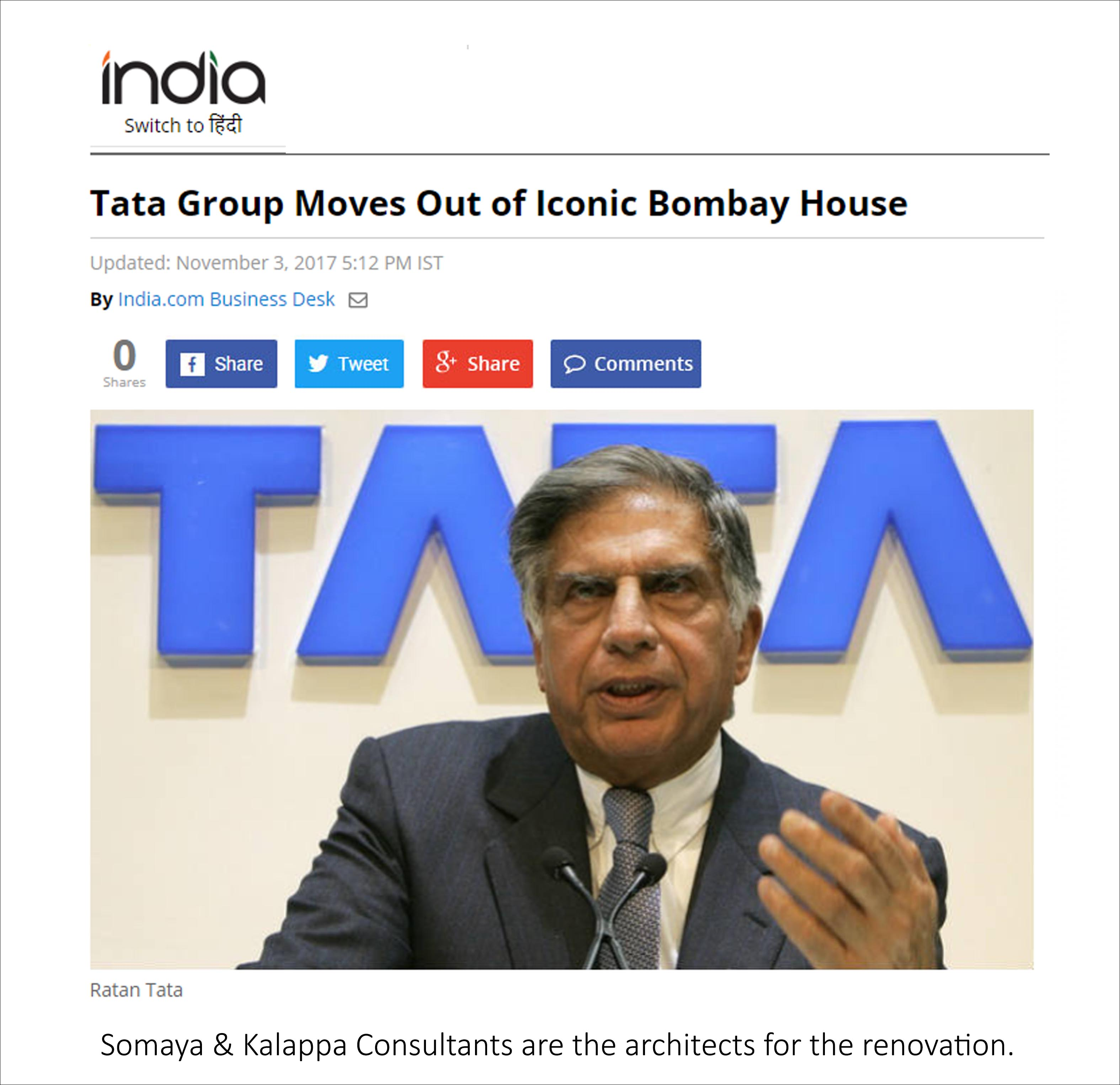 Tata Group Moves Out of Iconic Bombay House, India - November 2017