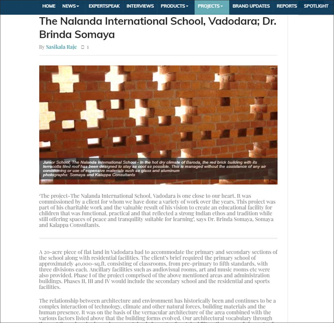 The Nalanda International School, Vadodara; Dr. Brinda Somaya