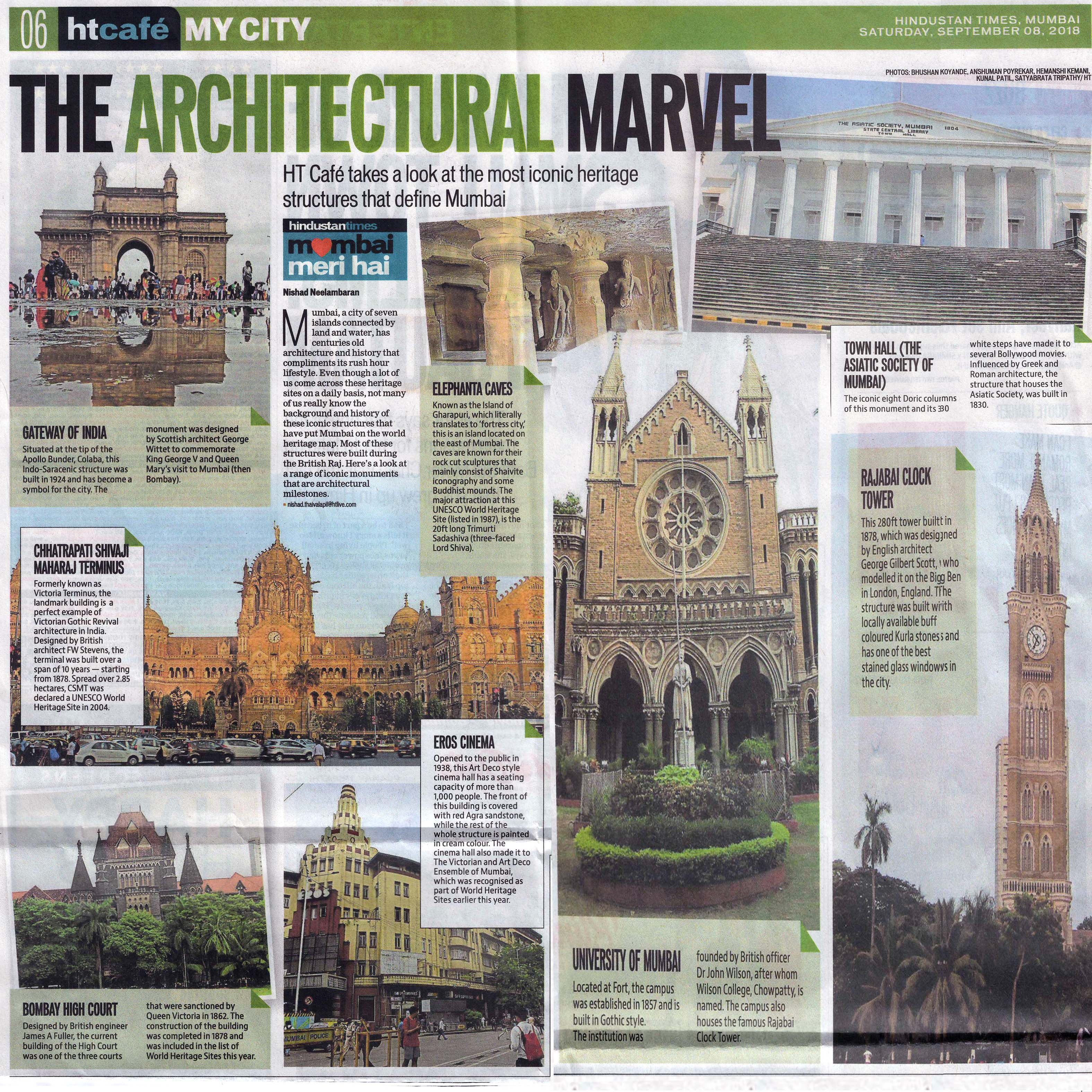 The architectural marvel , Hindustran Times , Mumbai -September 2018
