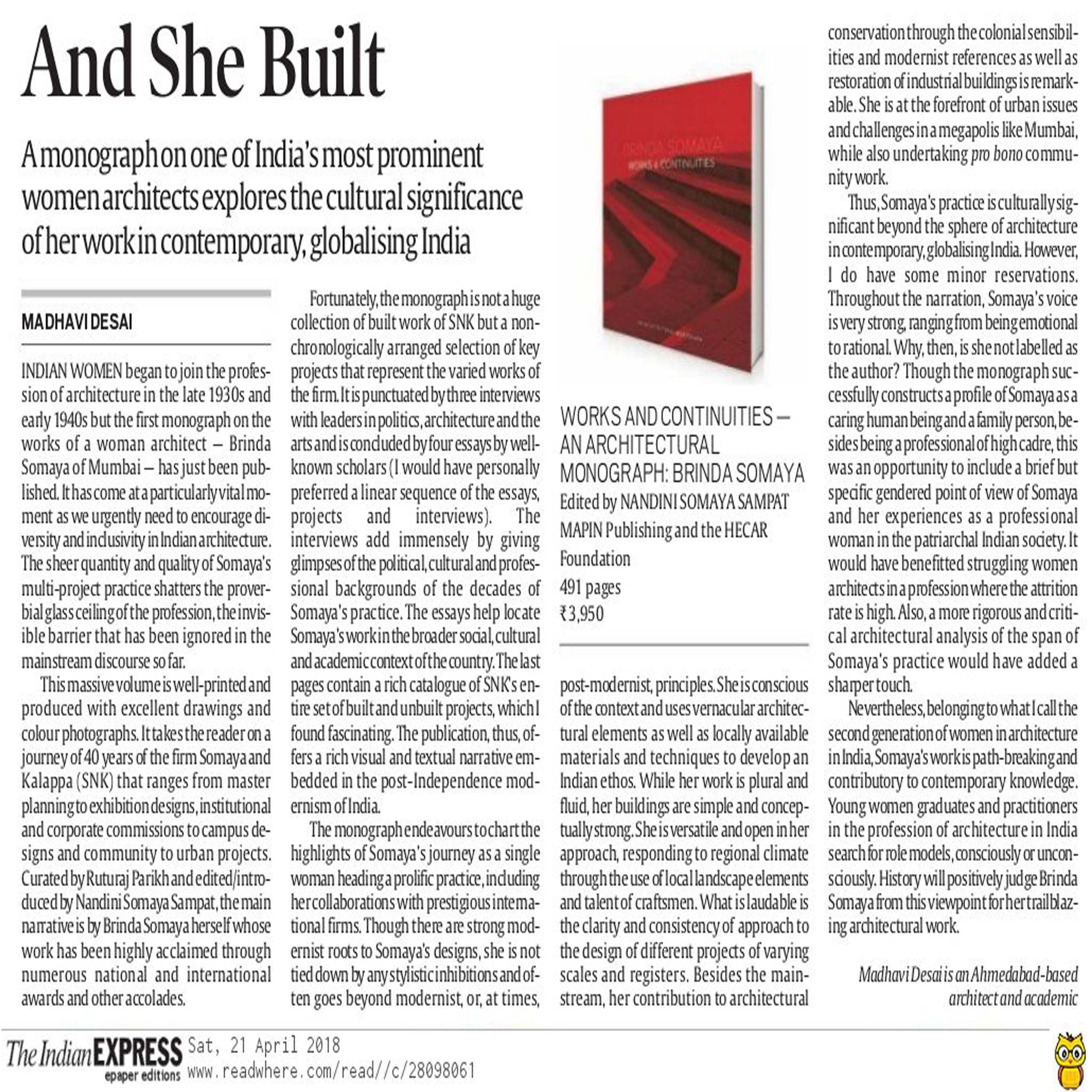 The Indian Express-Book Review of Brinda Somaya's monograph