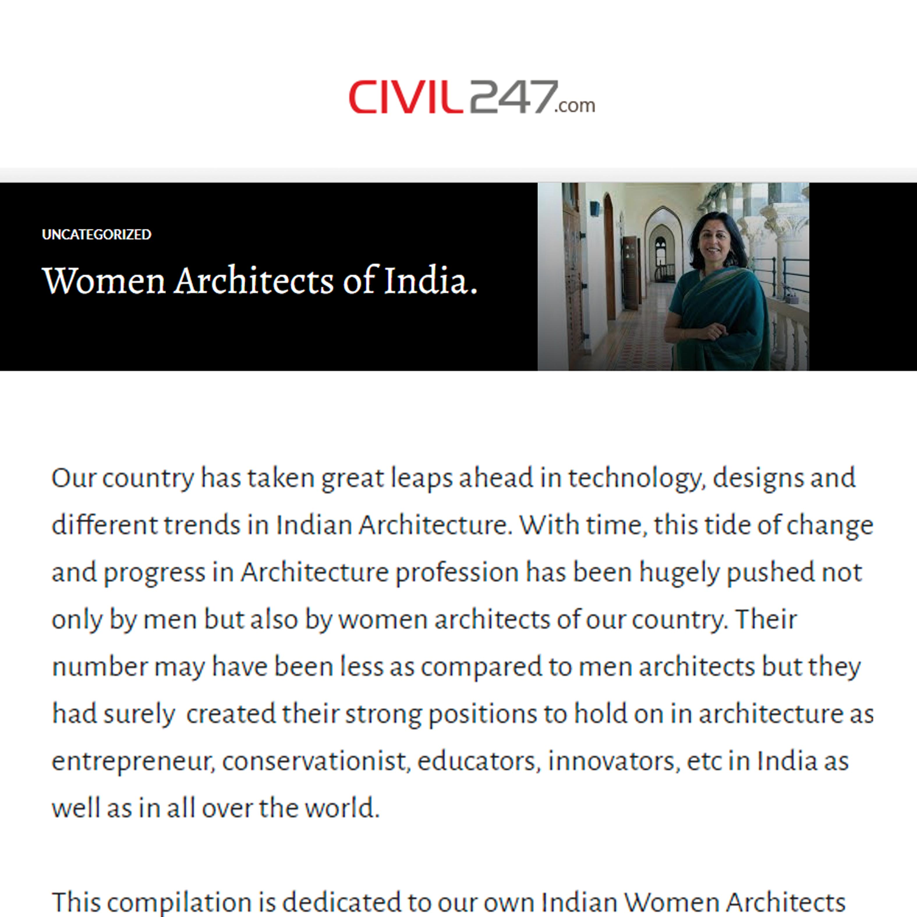 Uncategorized Women Architects of India, Blog.Civil 247,9th March 2016