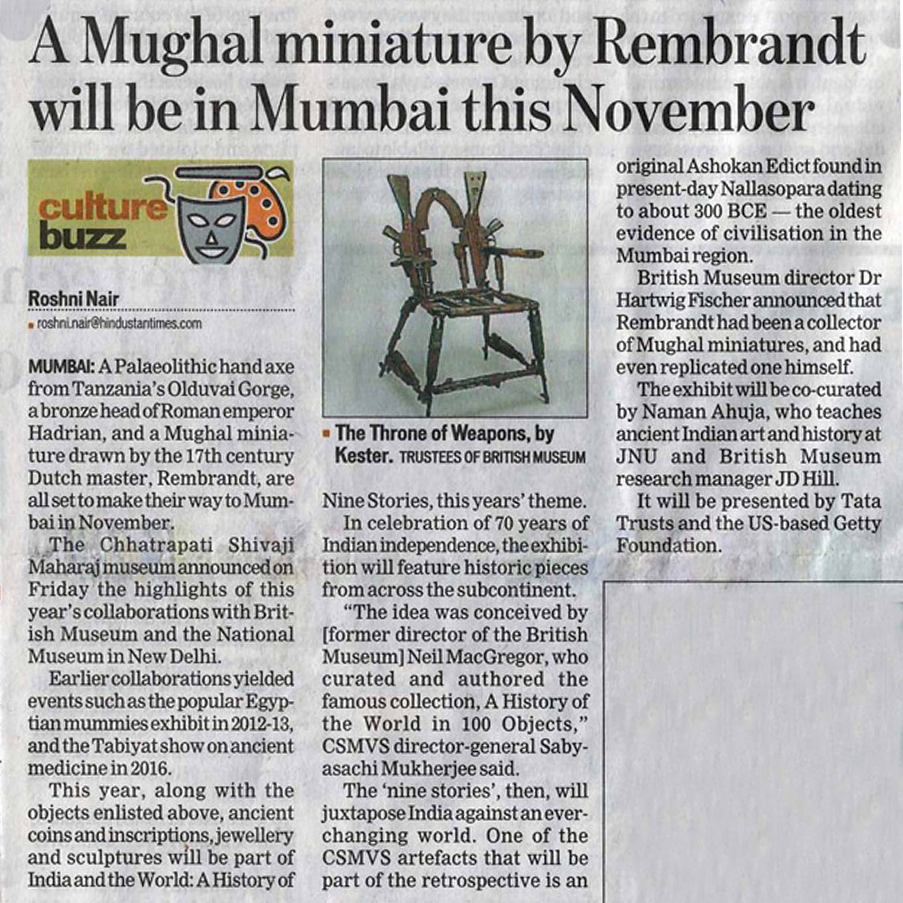 Hindustan Times, Mumbai - A Mughal miniature by Rembrandt will be in Mumbai this November - 4th February 2017. Exhibition Designers: Somaya and Kalappa Consultants.