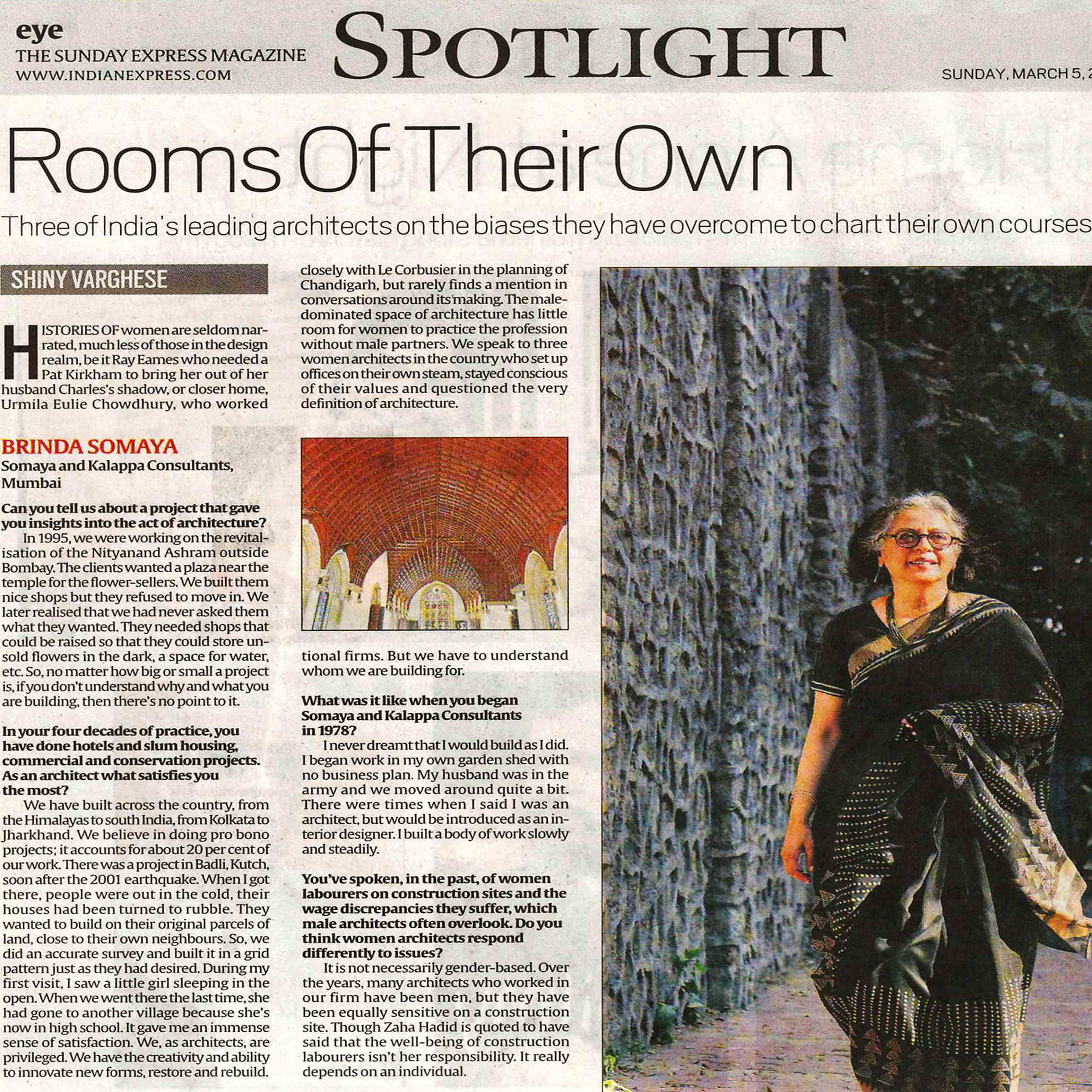 The Indian Express, Mumbai - Rooms Of Their Own - 5th March 2017....